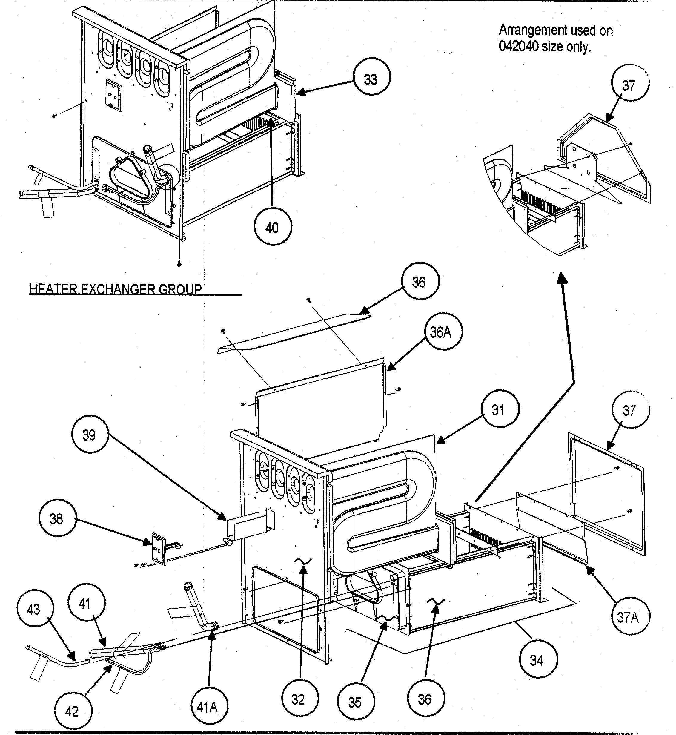 Carrier 58MTA120F10120 heater exchanger group diagram