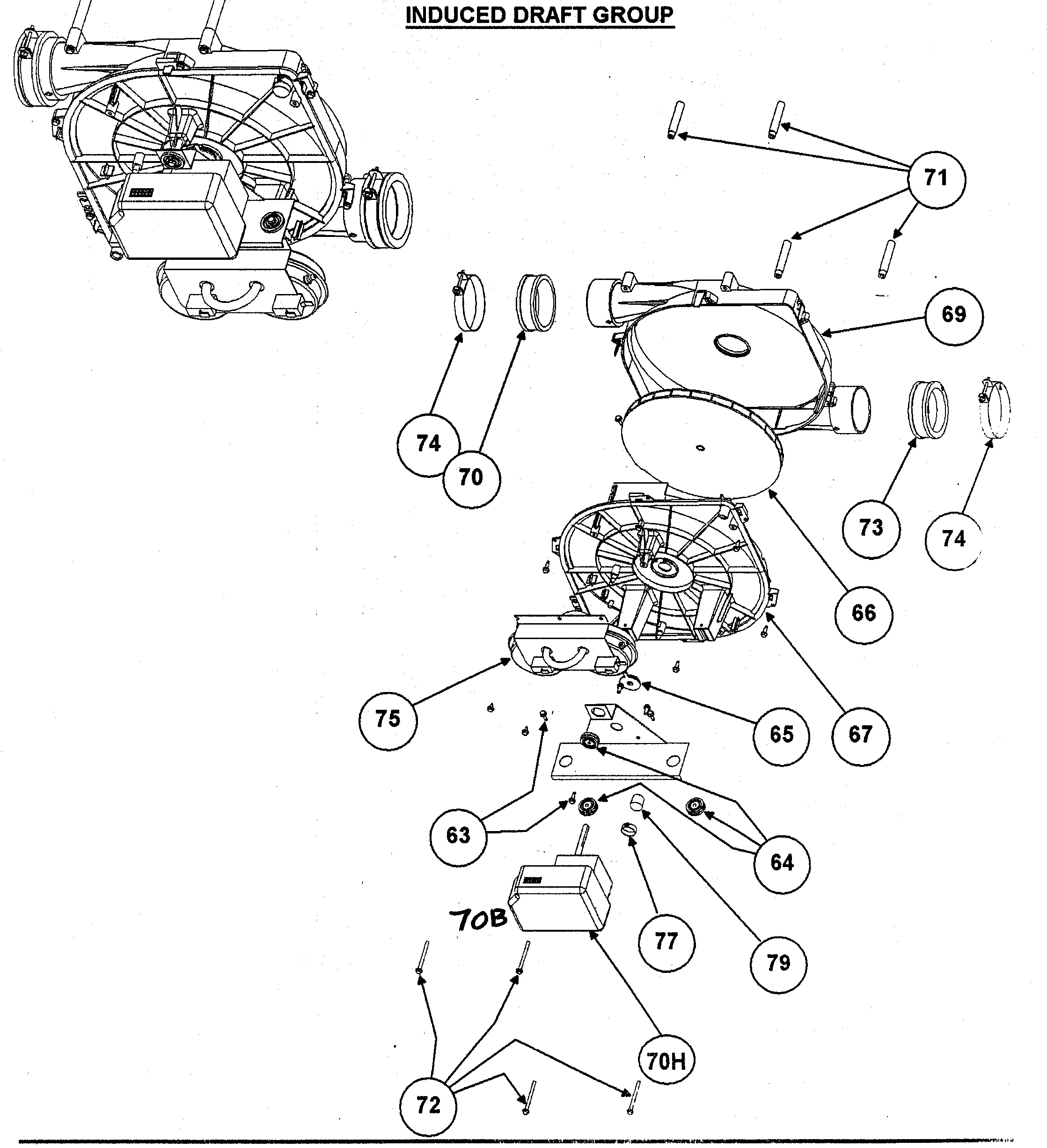 Carrier 58MTA120F10120 induced draft group diagram