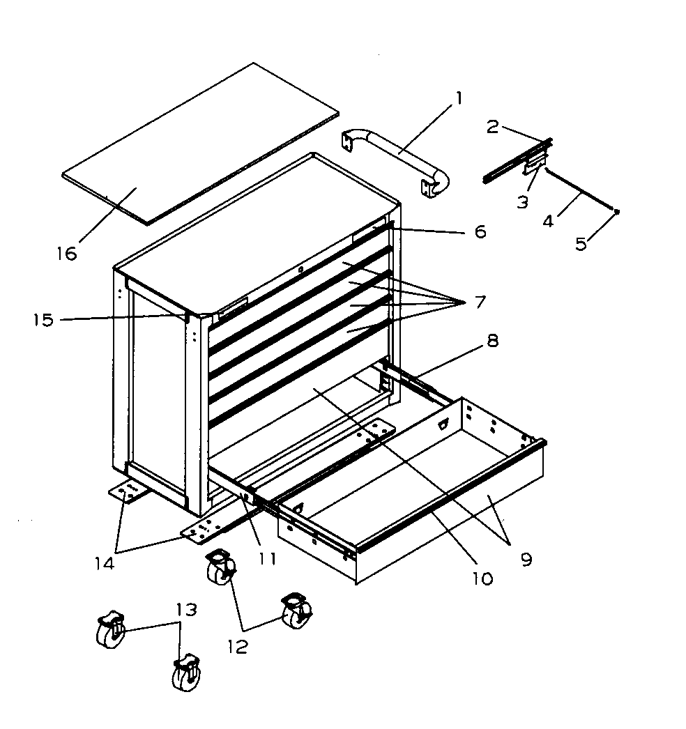 Craftsman 706596261 roll away chest diagram