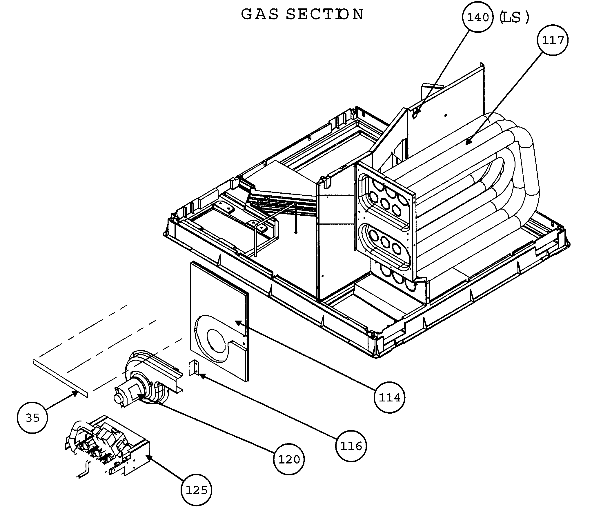 Carrier 48GP060090310 gas section diagram