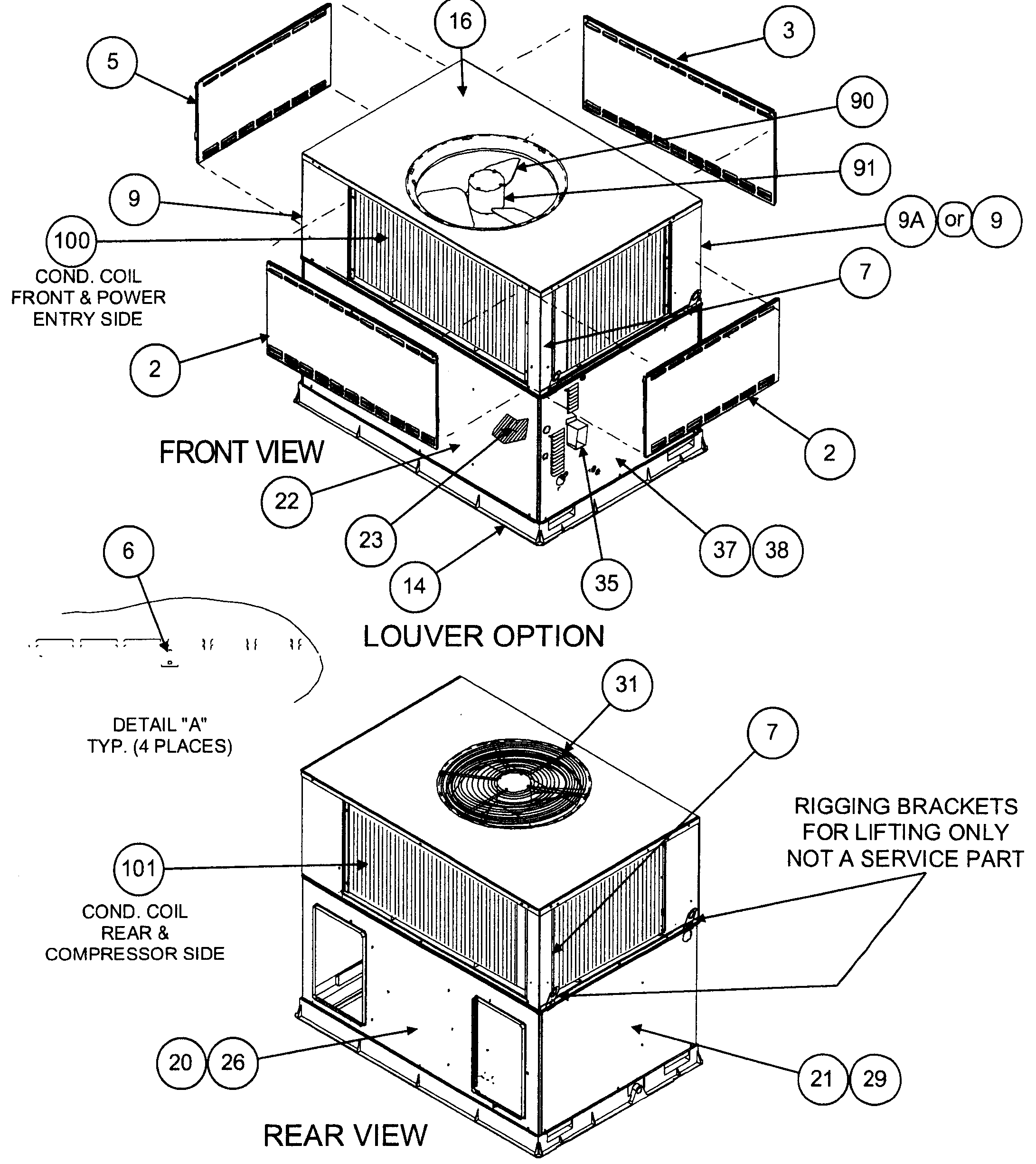Carrier 48XZN048130300 front view/louver option/rear view diagram
