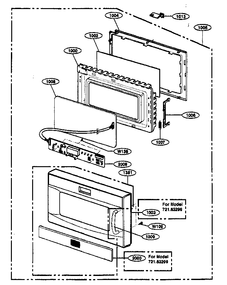 Kenmore 72163299303 door parts diagram
