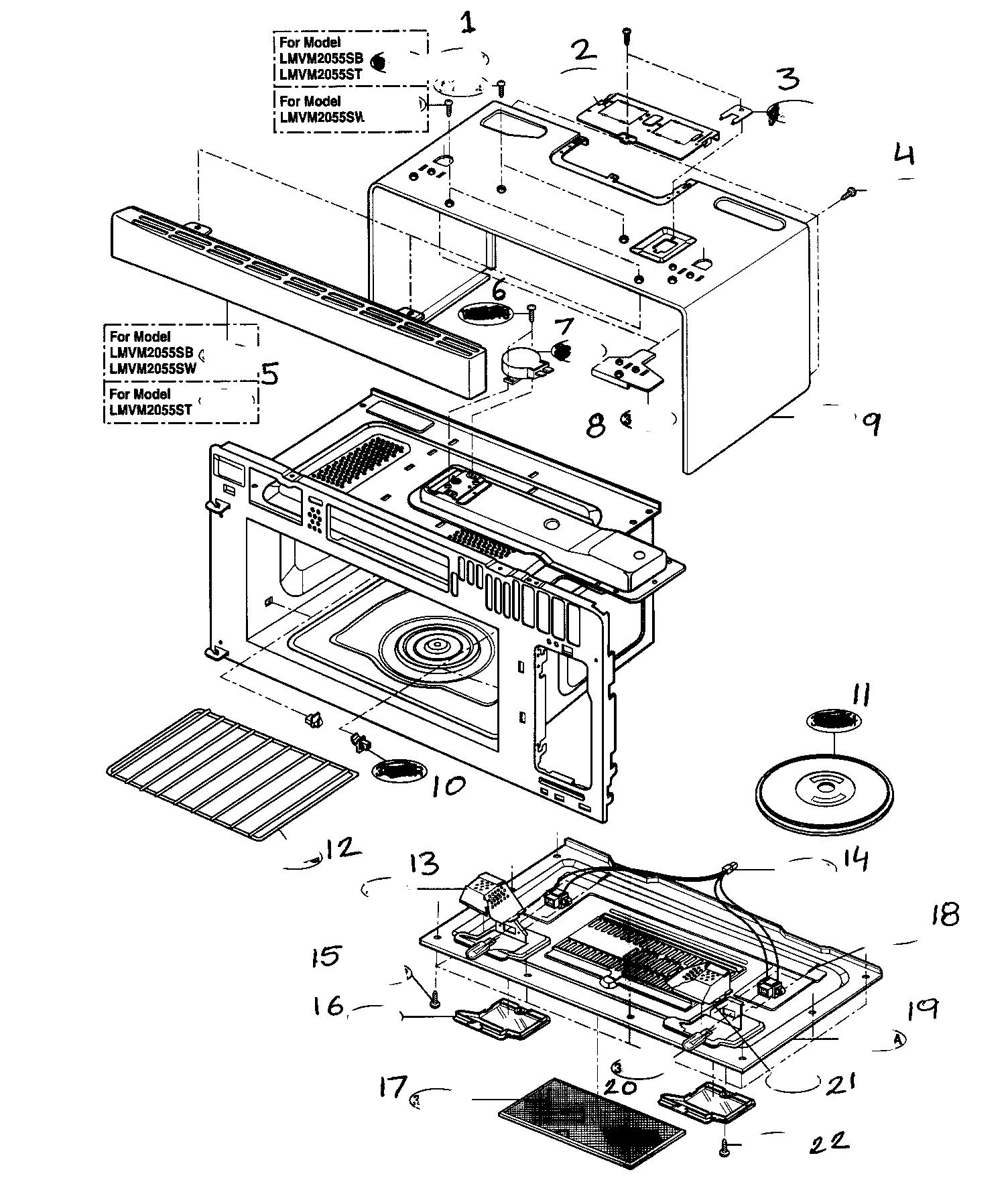 Parts For Lg Microwave Bestmicrowave Lmv1680st Oven Wiring Diagram Model Lmvm2055st Hood Combo Genuine