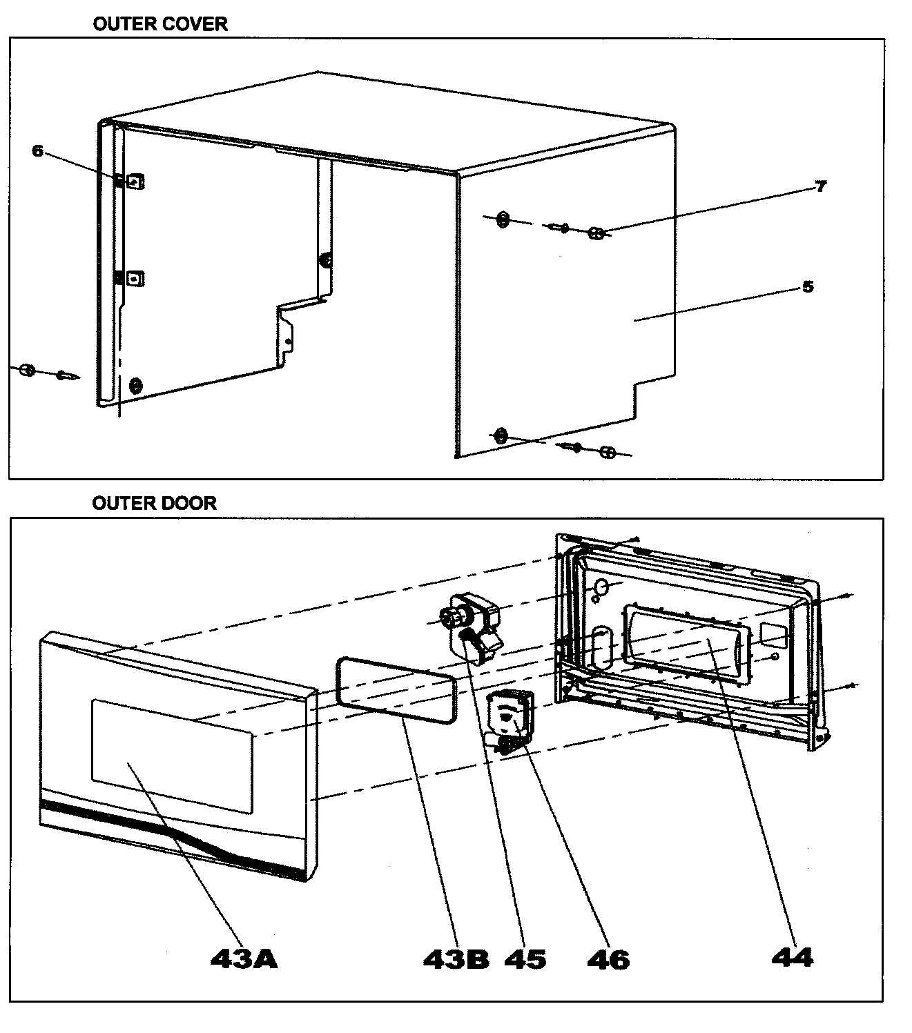 Danby DDW396W outer cover/outer door diagram