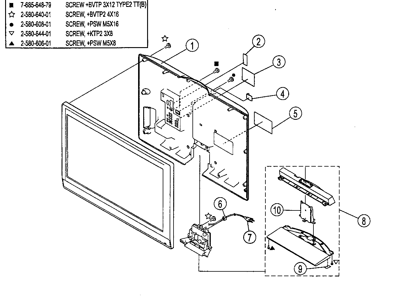 Sony KDL-32M3000 rear cover/stand assy diagram
