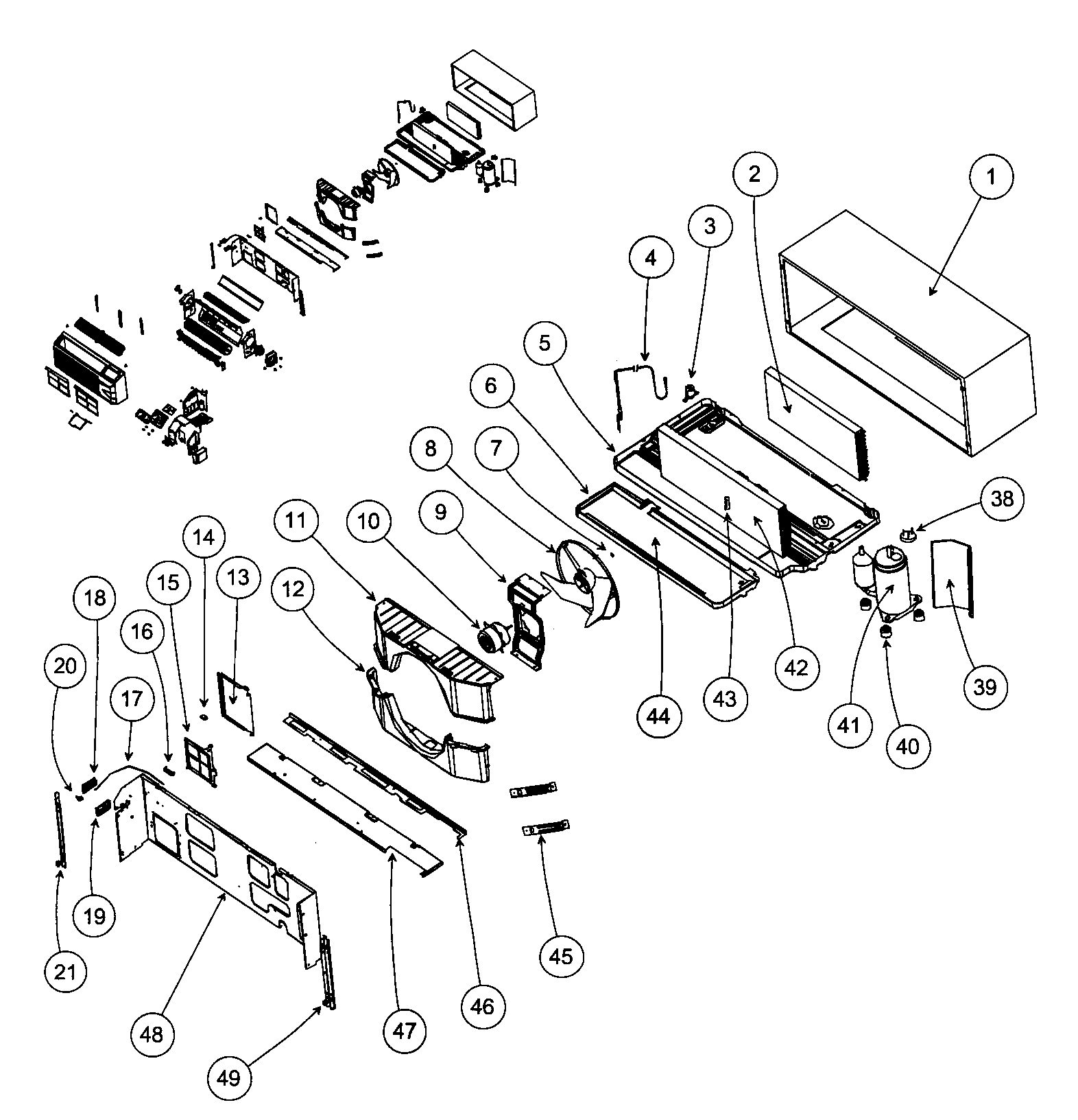 Carrier 52MEAU12301AA back cabinet assy diagram