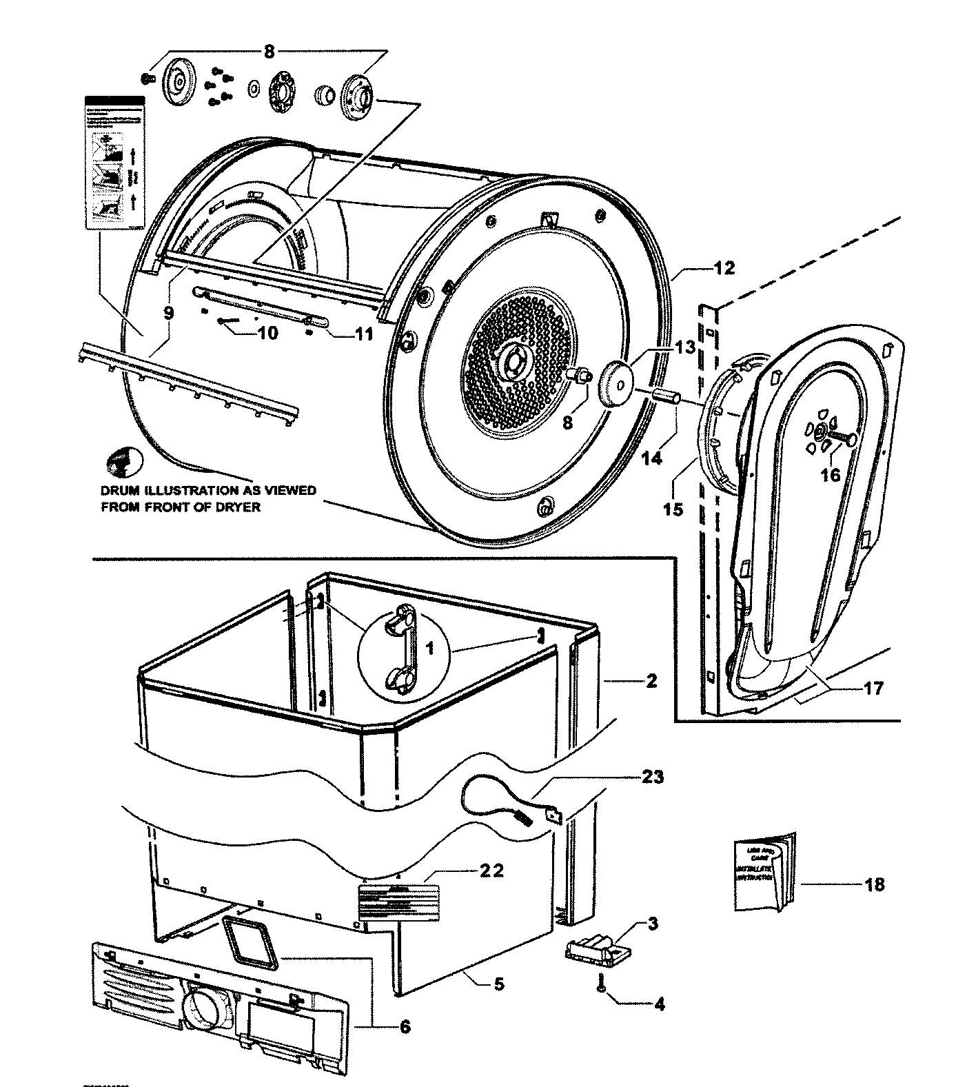 Fisher & Paykel DG27CW1-96116A cabinet/drum/inlet duct diagram