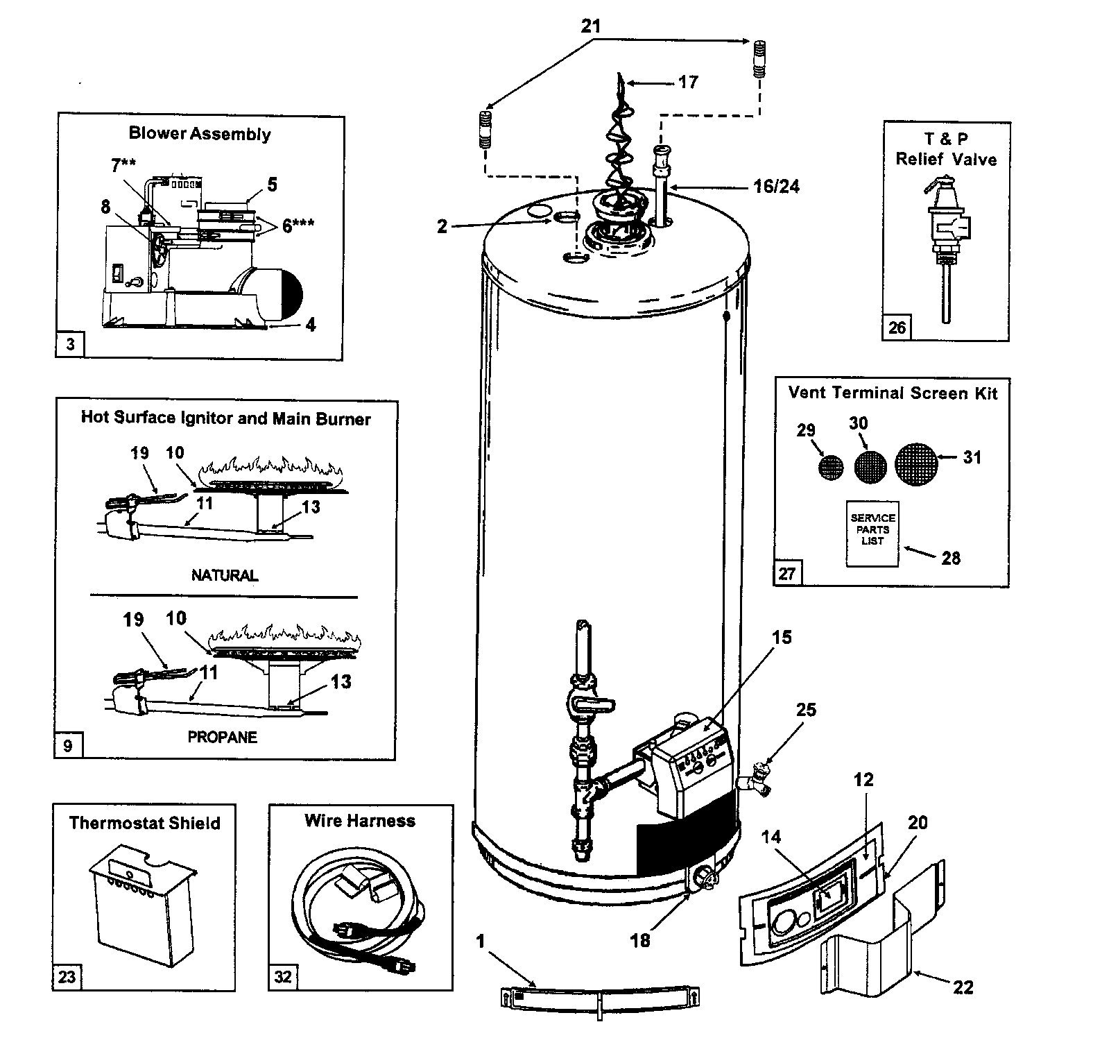 water heater diagram  u0026 parts list for model gs650yrvit5 state