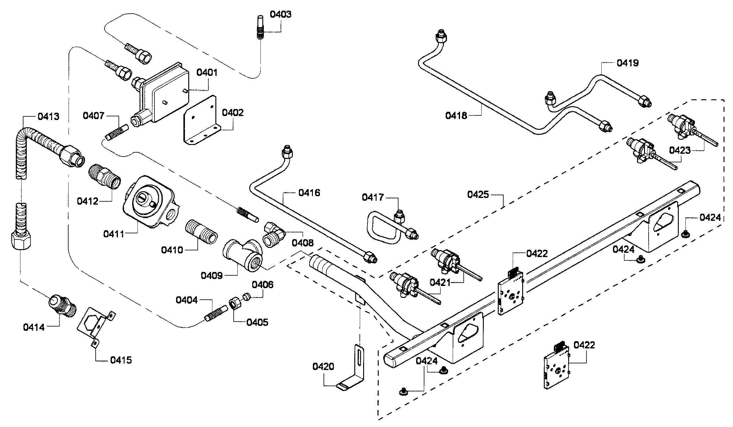 Thermador PRG304GH/01 gas supplay diagram