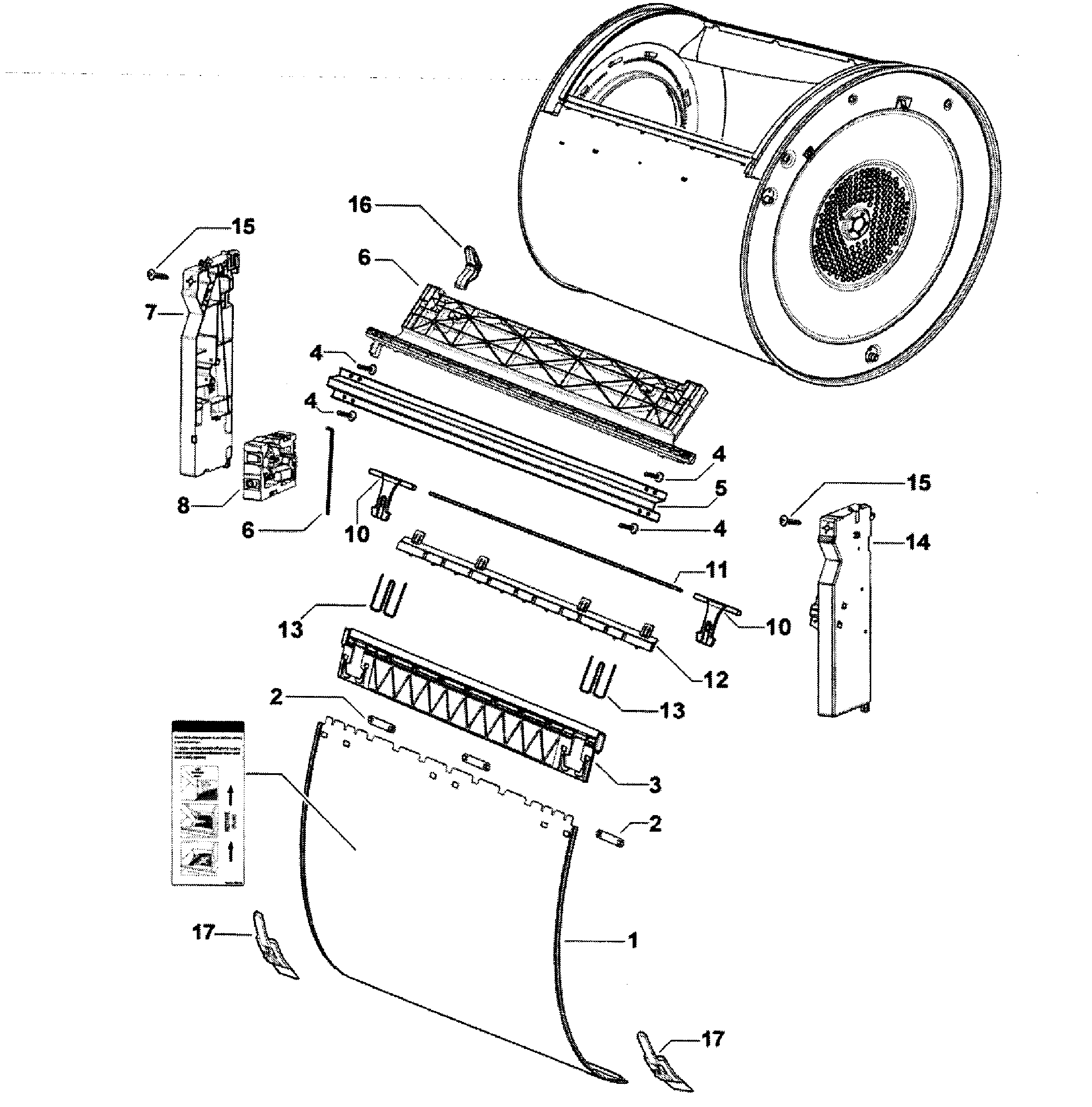 Fisher & Paykel DG62T27CW2-96170-A drum assy diagram
