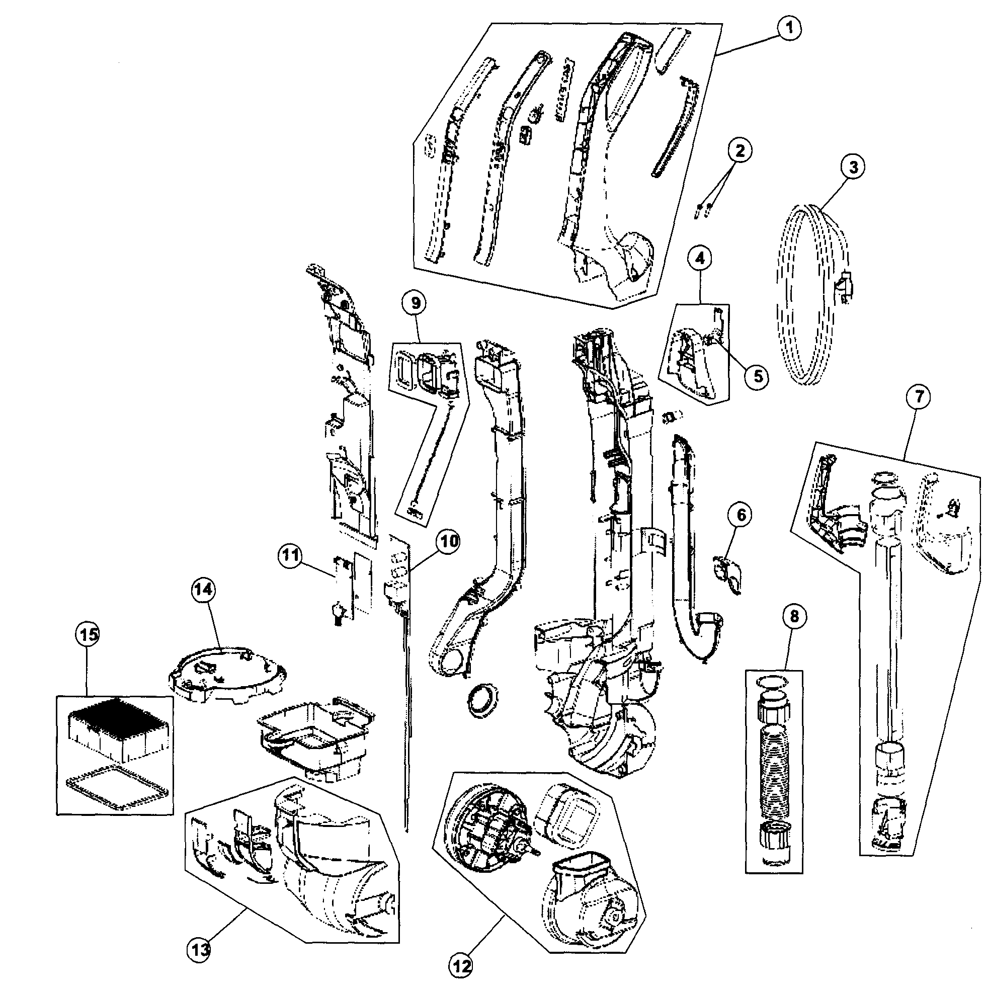 Hoover UH70015 handle assy diagram