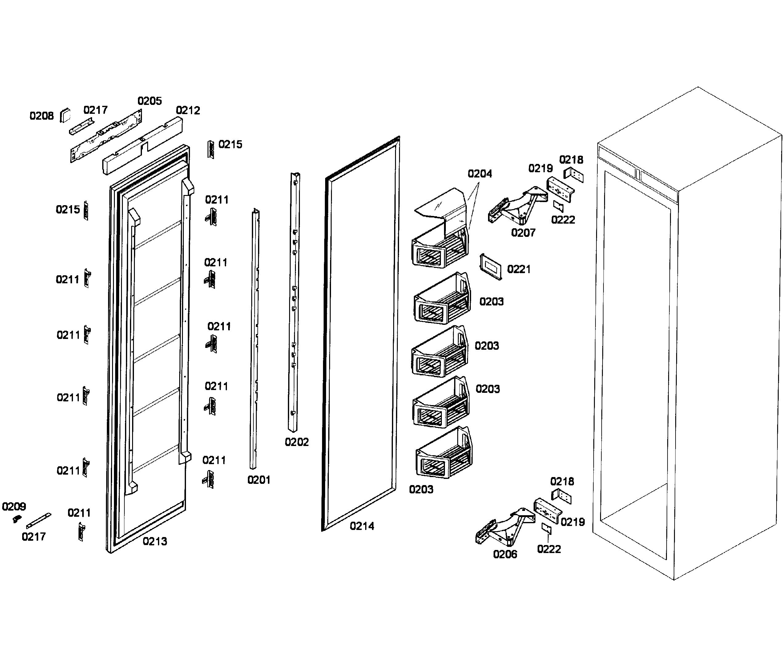 Thermador  Built-In Freezer Column  Door assy