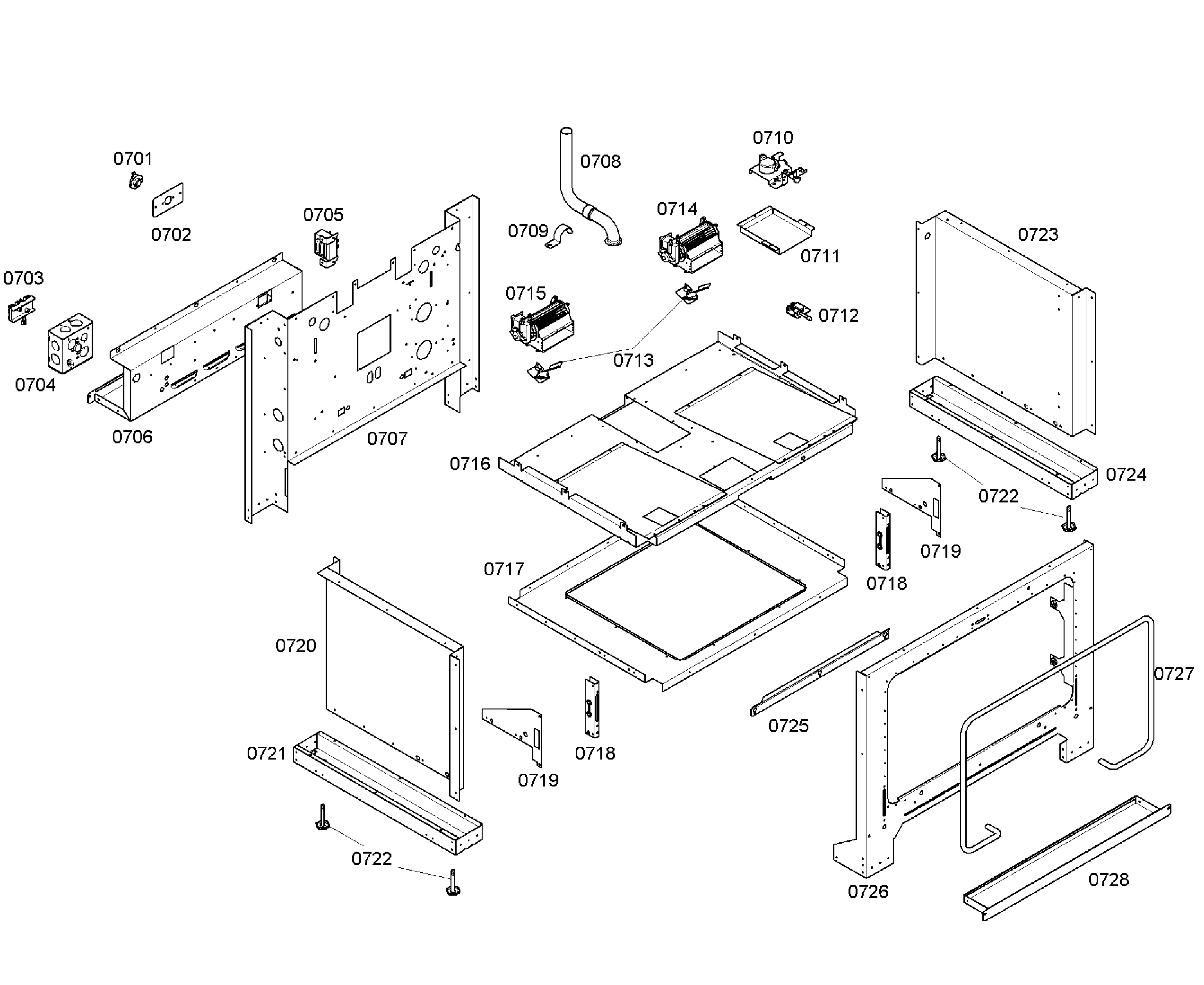 Thermador PD366BS/04 cabinet assy diagram