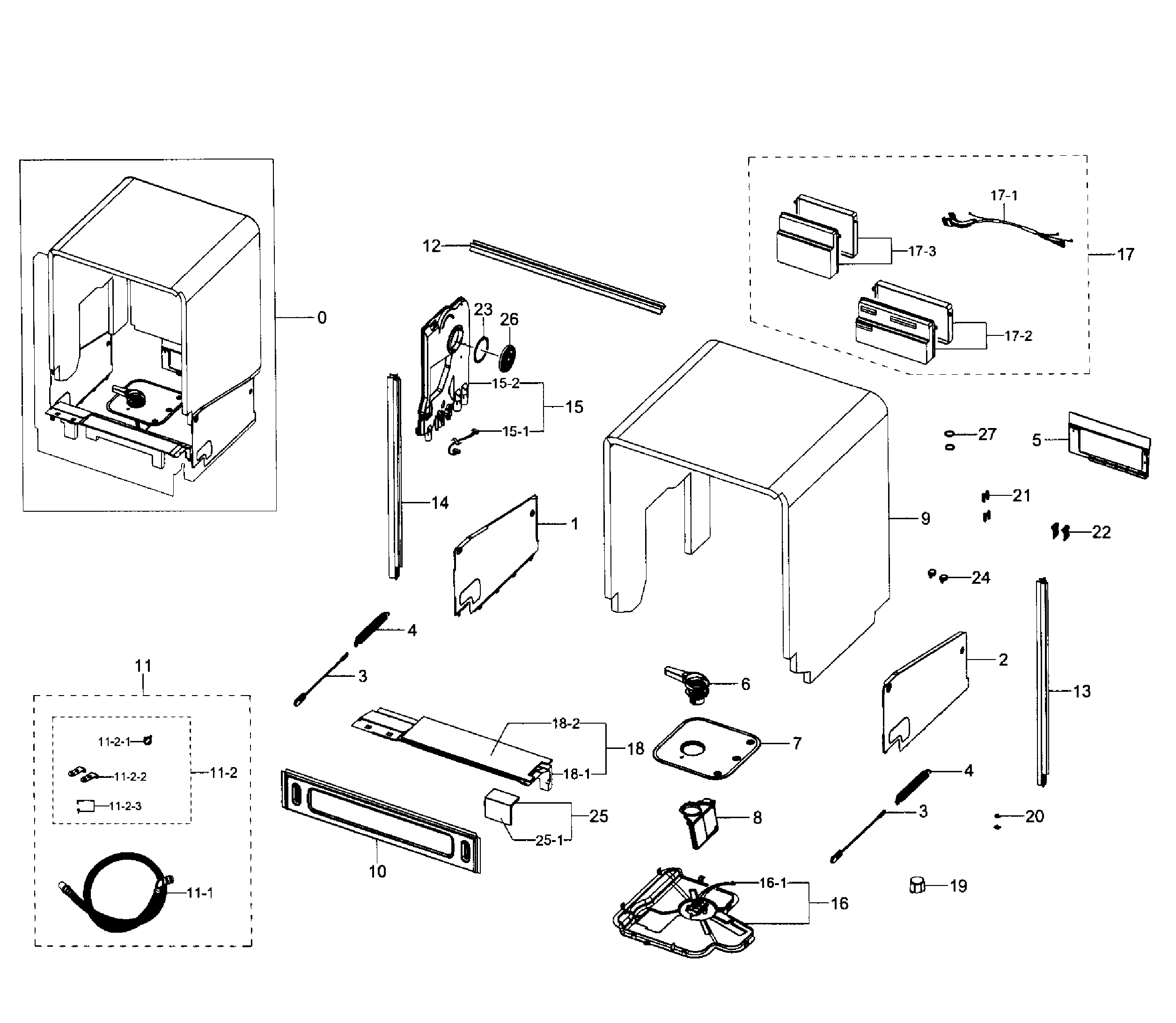 Samsung DW80J7550US/AA-01 cabinet diagram