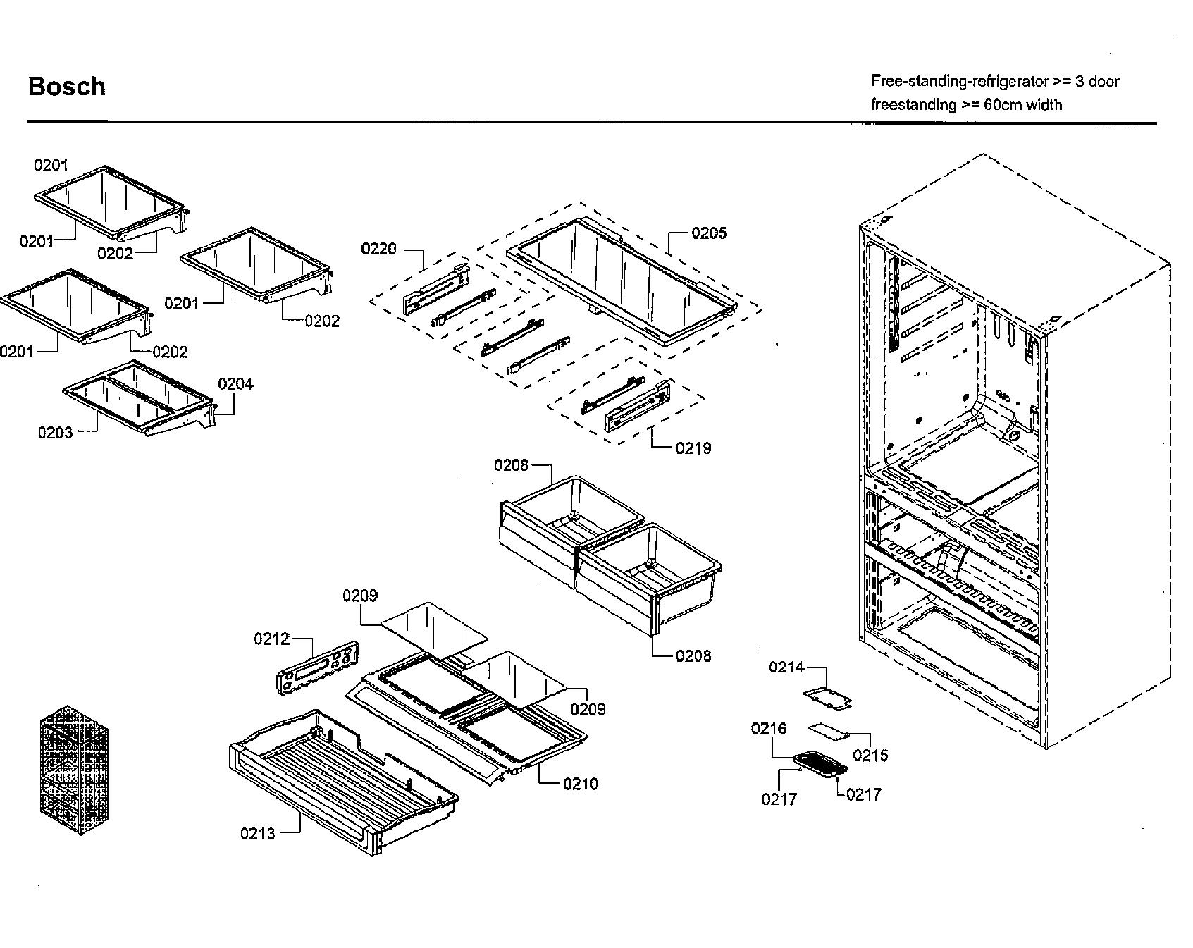 Bosch  Refrigerator  Shelf & drawer asy