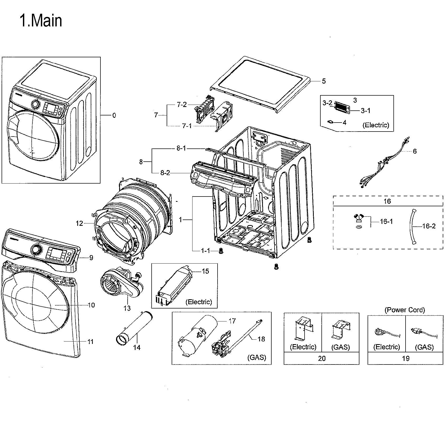 Samsung  Dryer  Main parts