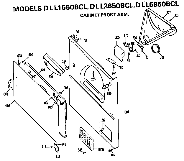 Hotpoint DLL2650BCL cabinet front assembly diagram
