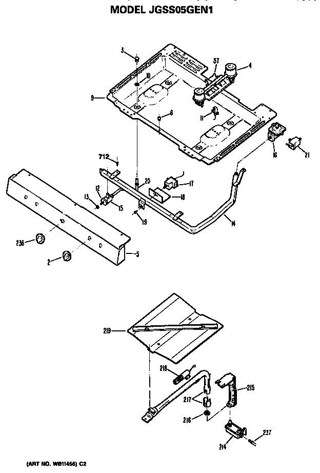 Ge  Gas Range  Burner assembly