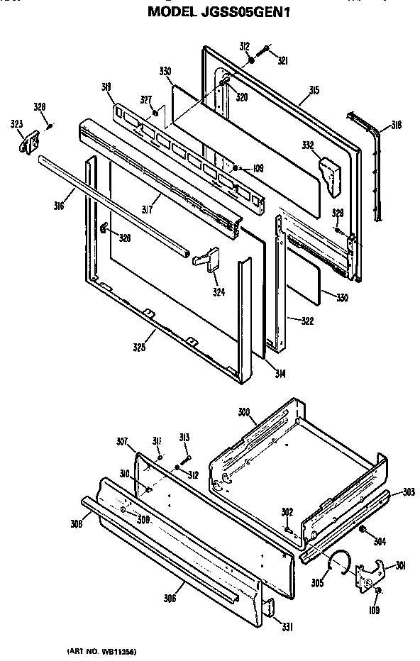 Ge  Gas Range  Door and broiler assembly