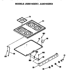 GE JLBS15GEK3 cooktop and controls diagram