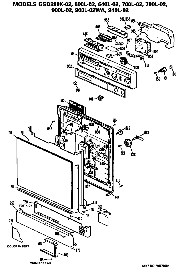 GE GSD600L-02 front/control panel diagram
