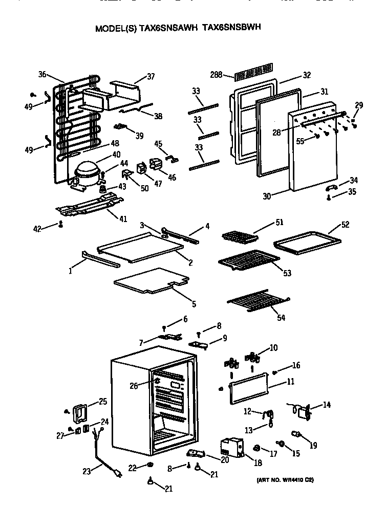 GE TAX6SNSBWH refrigerator diagram
