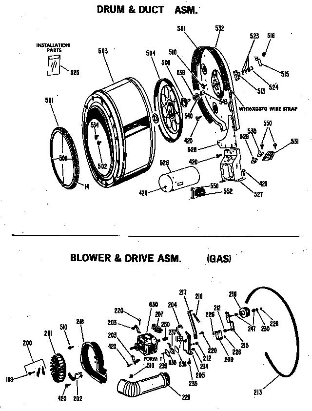 Ge  Gas Dryer  Blower & drive asm. (gas)