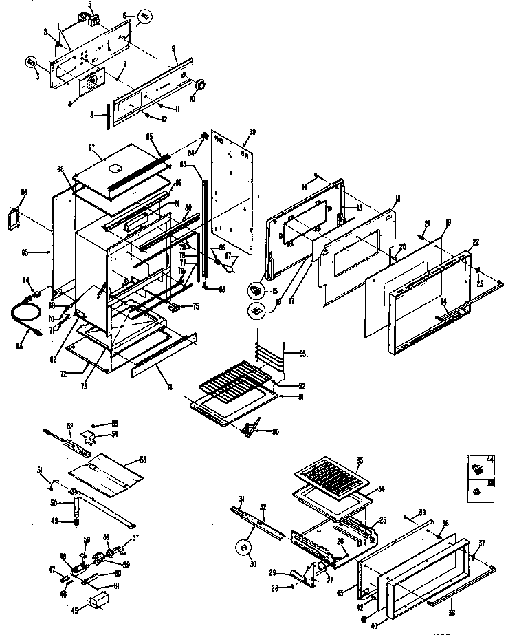 Hotpoint RGJ515GEH1 oven assembly diagram