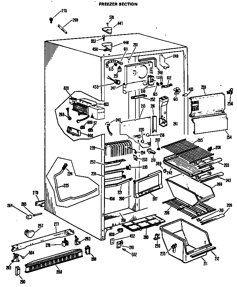 Hotpoint CSF22TBM freezer section diagram