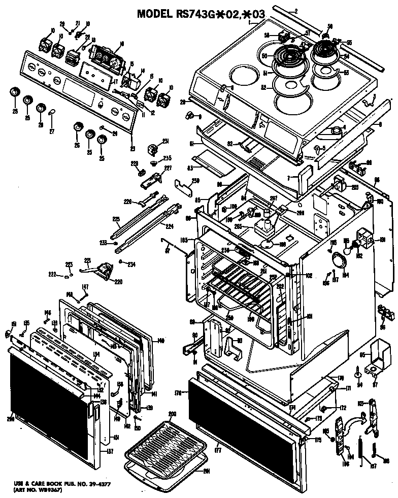 Hotpoint RS743G*02 range assembly diagram