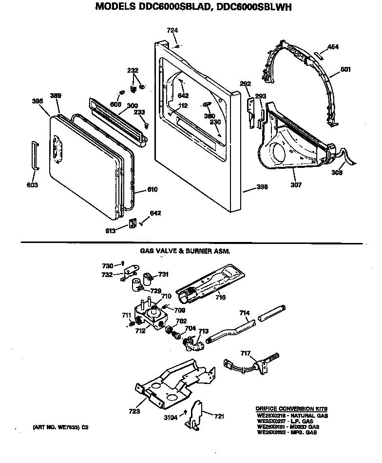 Ge  Gas Dryer  Cabinet front, gas valve and burner