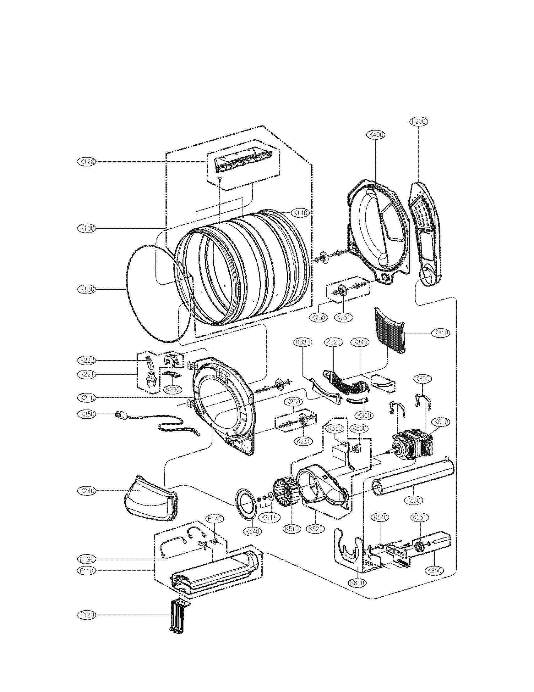 LG DLE2701V drum and motor parts diagram