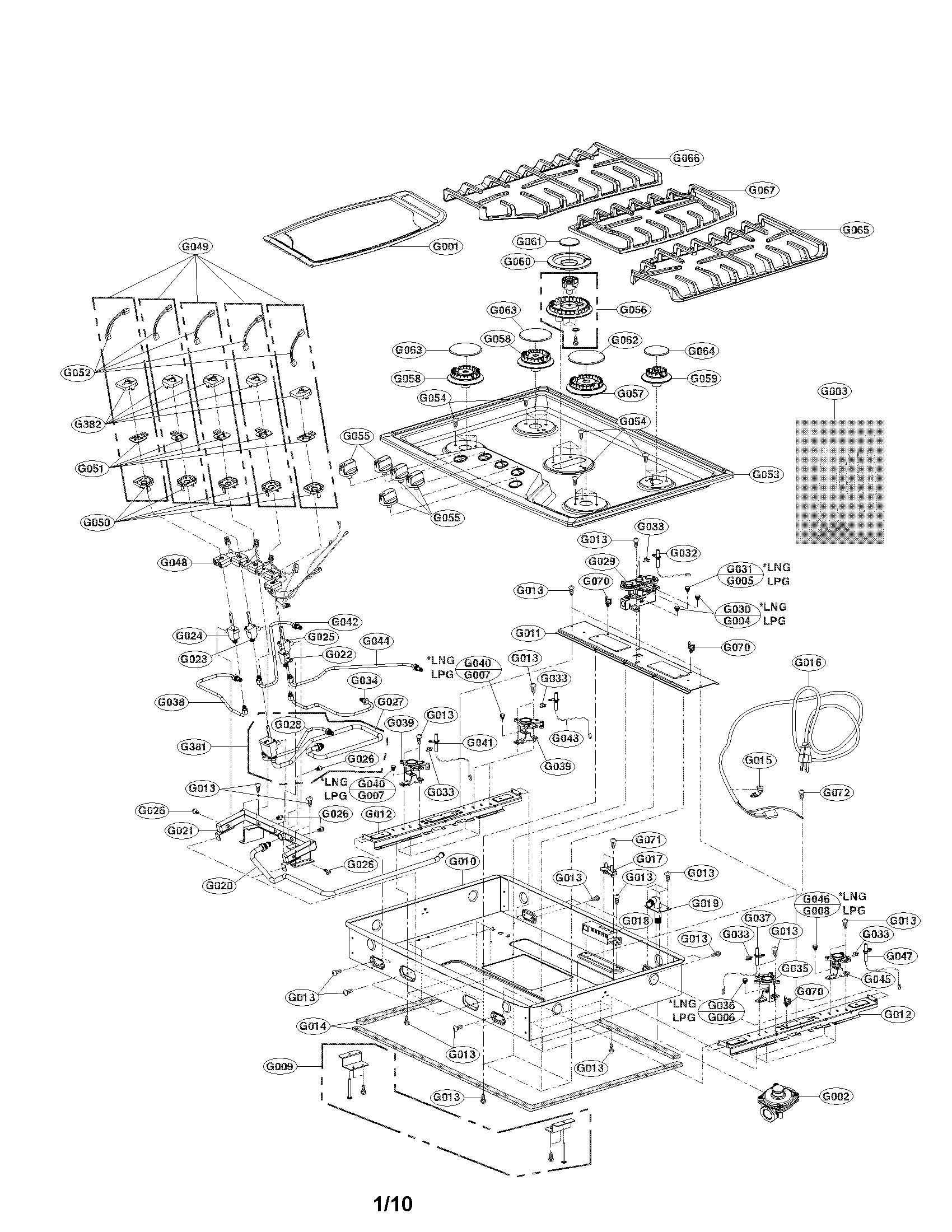 LG LCG3691ST/00 cooktop parts diagram