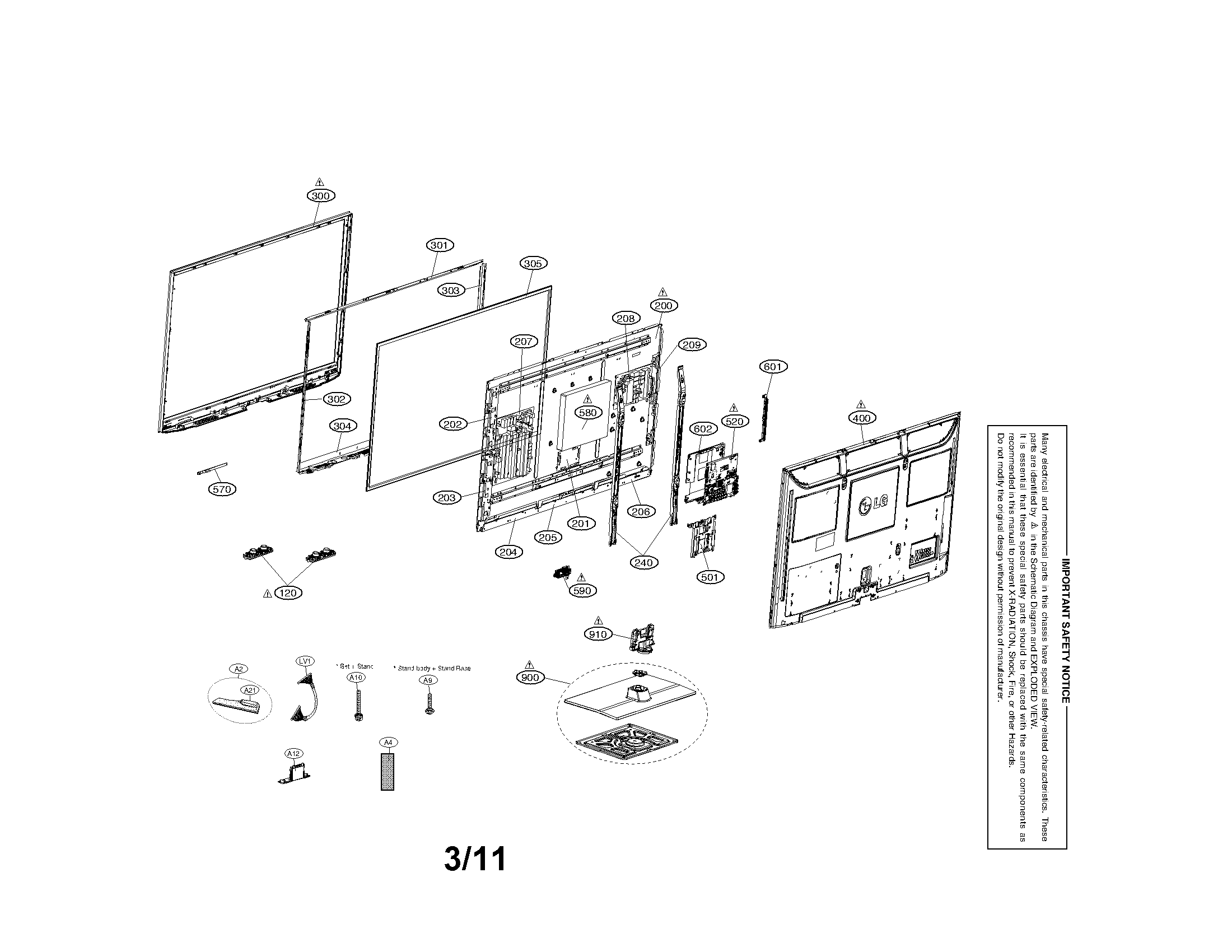 LG 50PT350 exploded view parts diagram