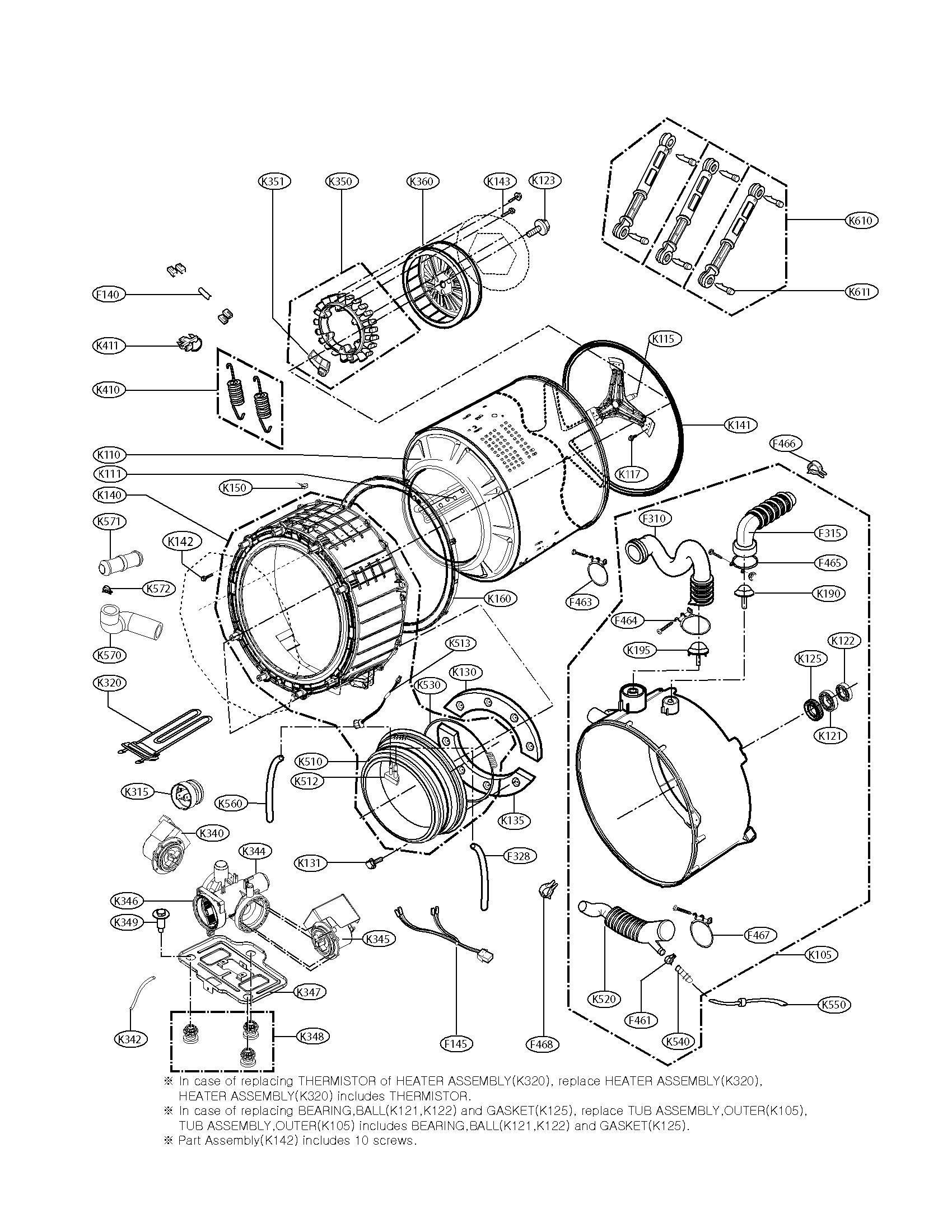 Kenmore Elite 79641028900 drum and tub assembly parts diagram