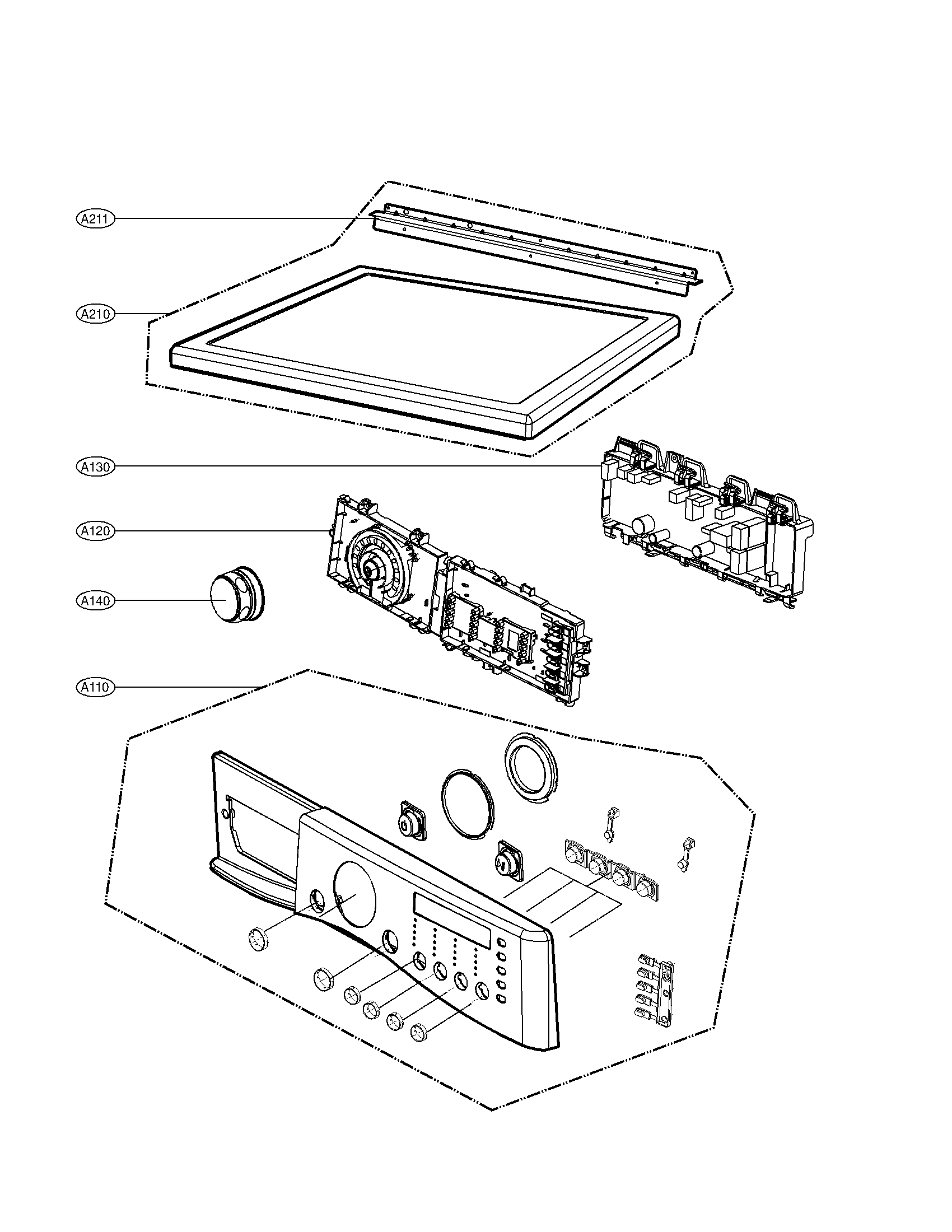 LG DLEX3360V control panel and plate assembly parts diagram