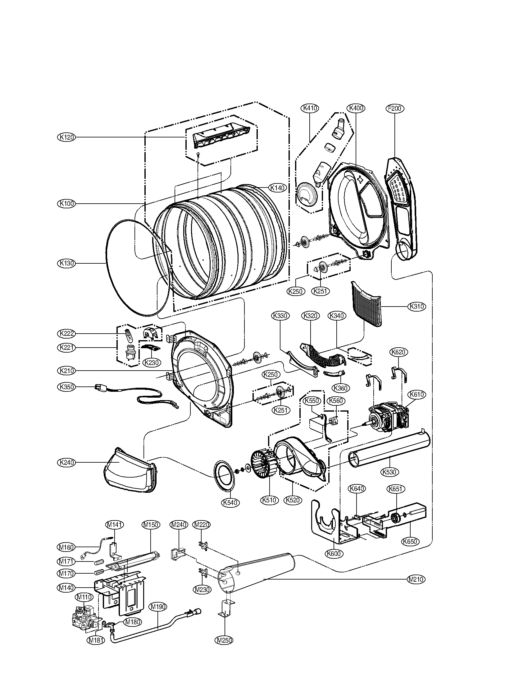LG DLGX8388NM drum and motor assembly parts diagram
