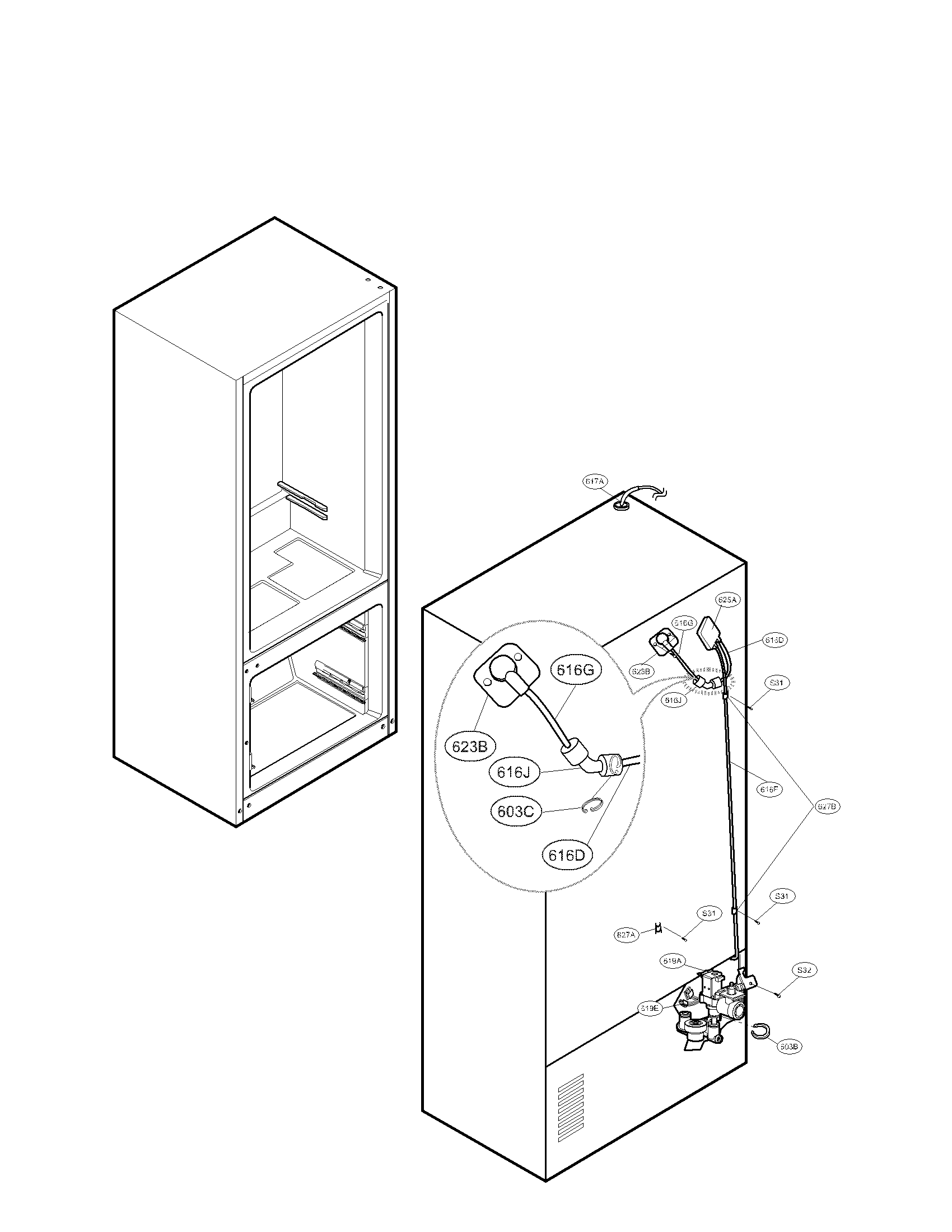 LG LMX25988SW/00 valve and water tube parts diagram