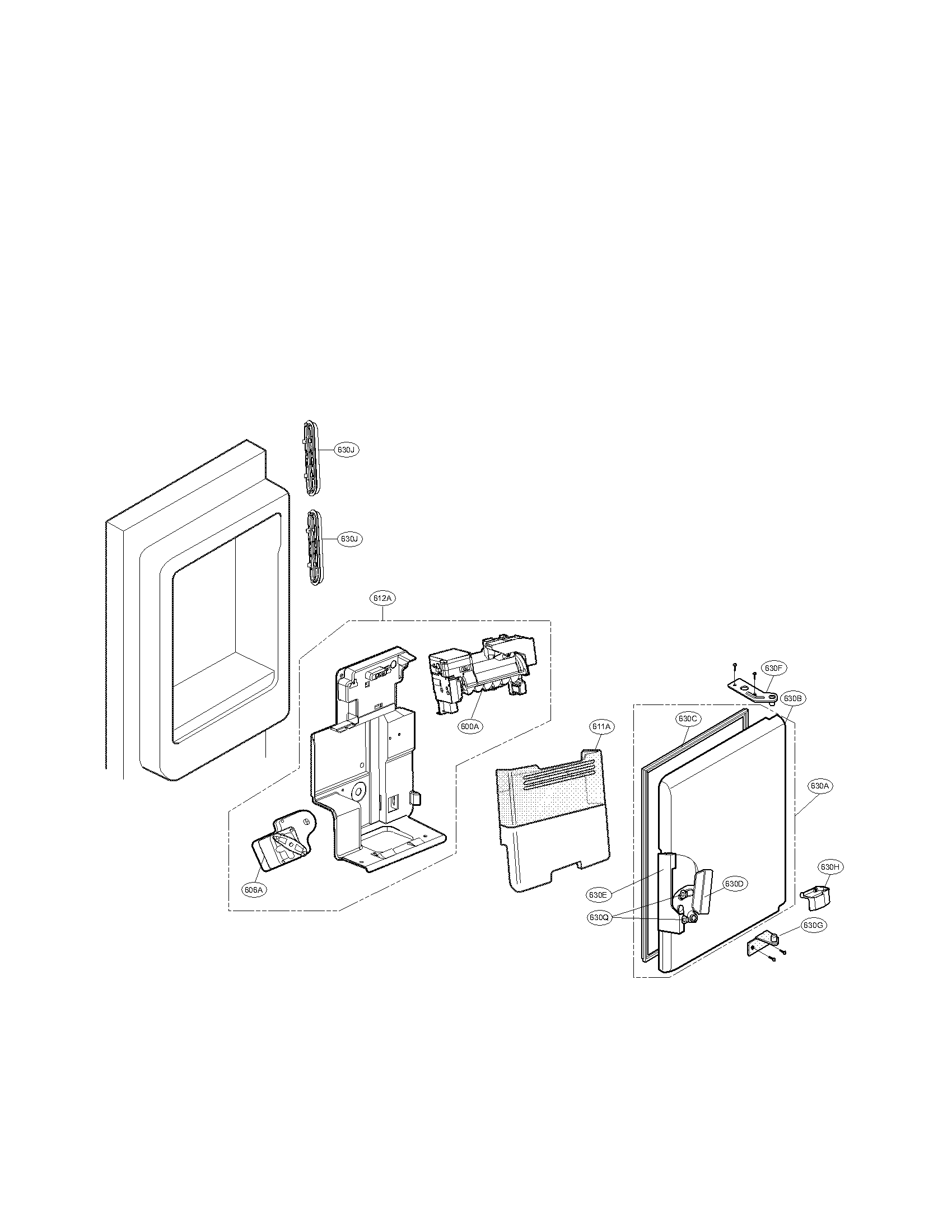LG LMX25988SW/00 ice maker and ice bin parts diagram