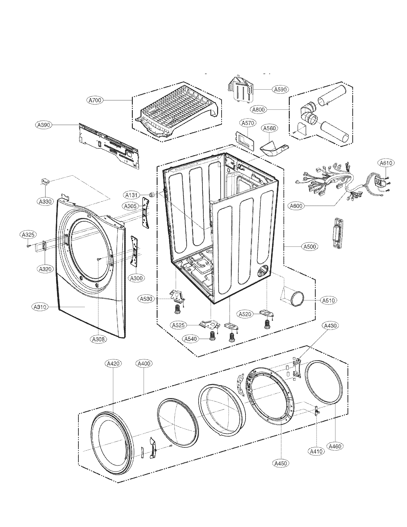 LG DLEX3470V cabinet and door assembly parts diagram