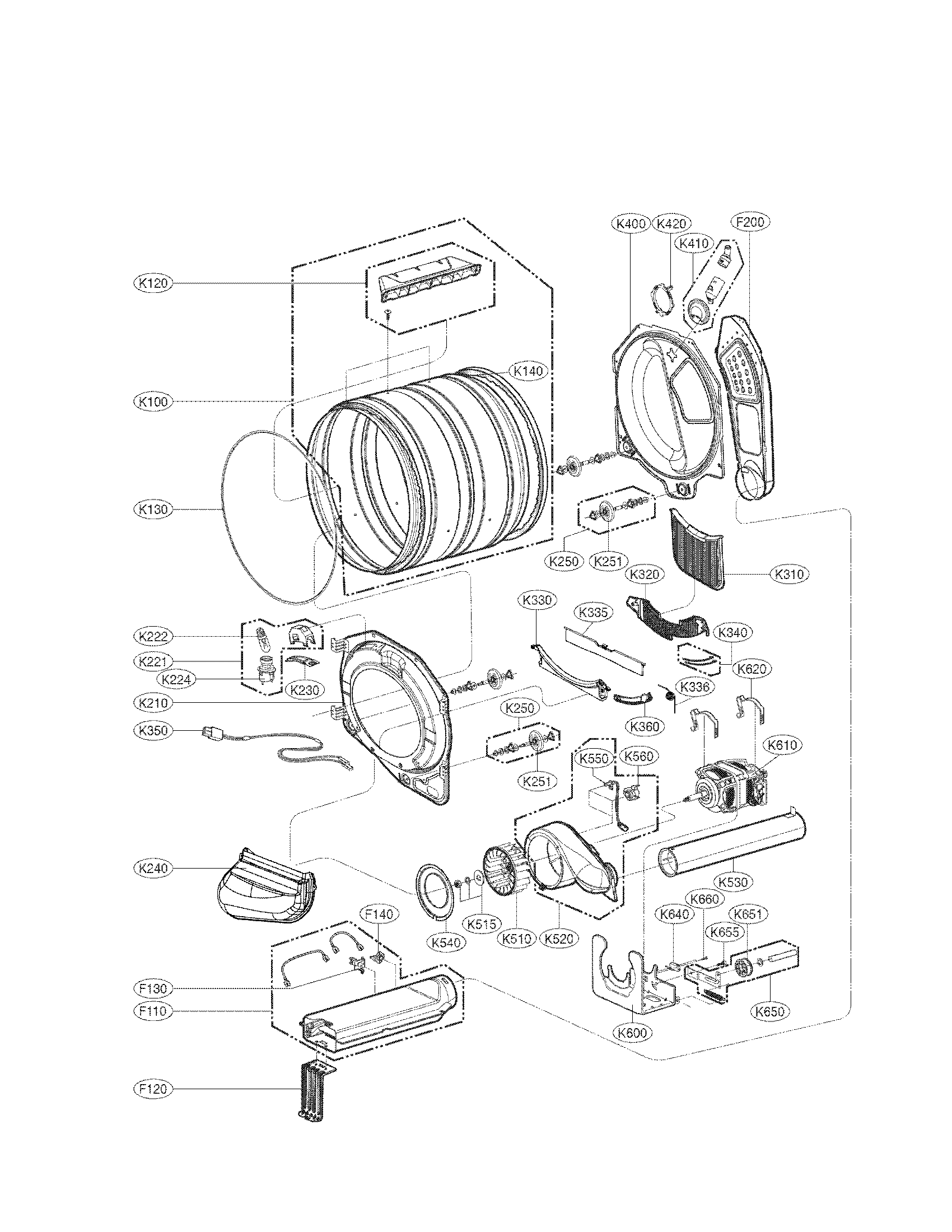 LG DLEX3470V drum and motor assembly parts diagram