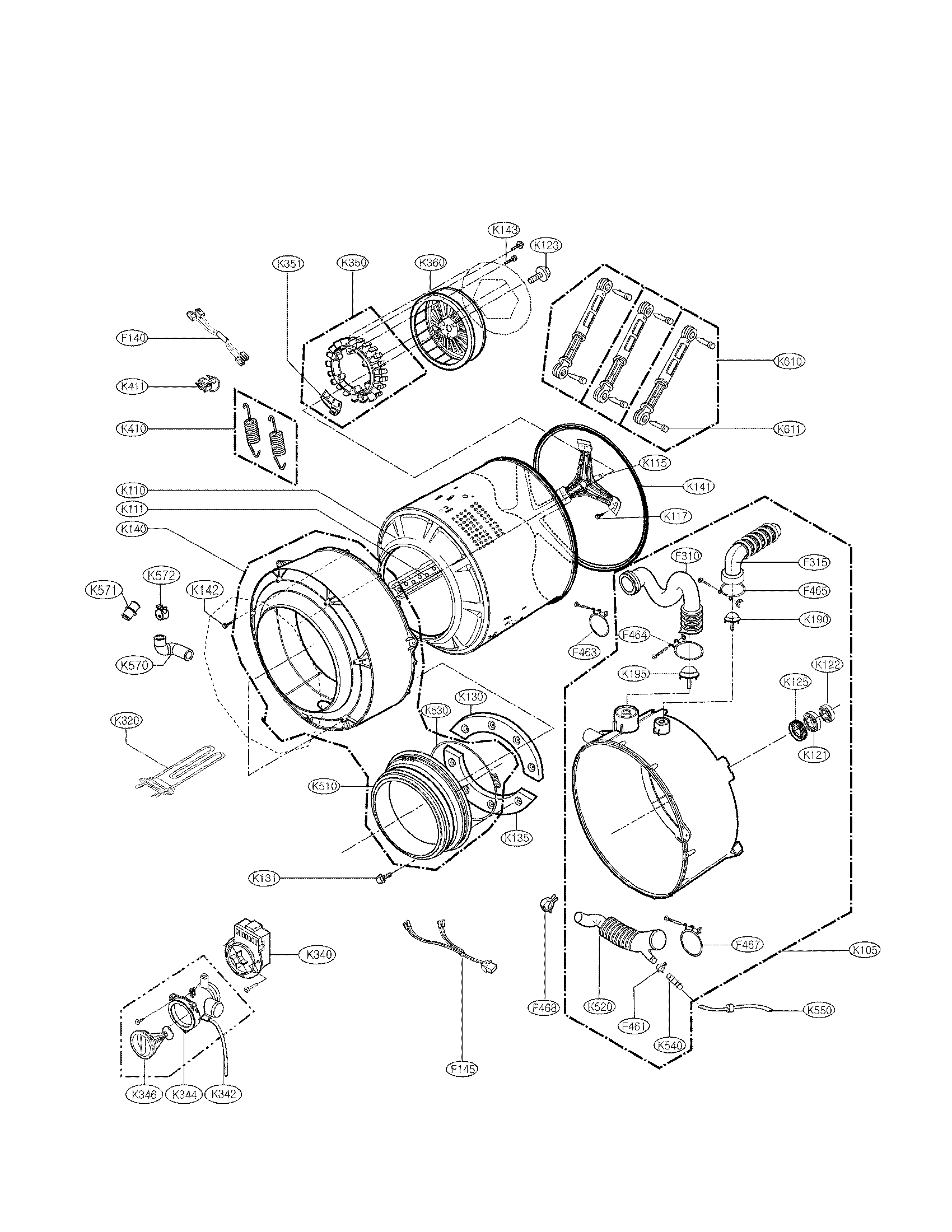 LG WM2650HWA drum and tub assembly parts diagram