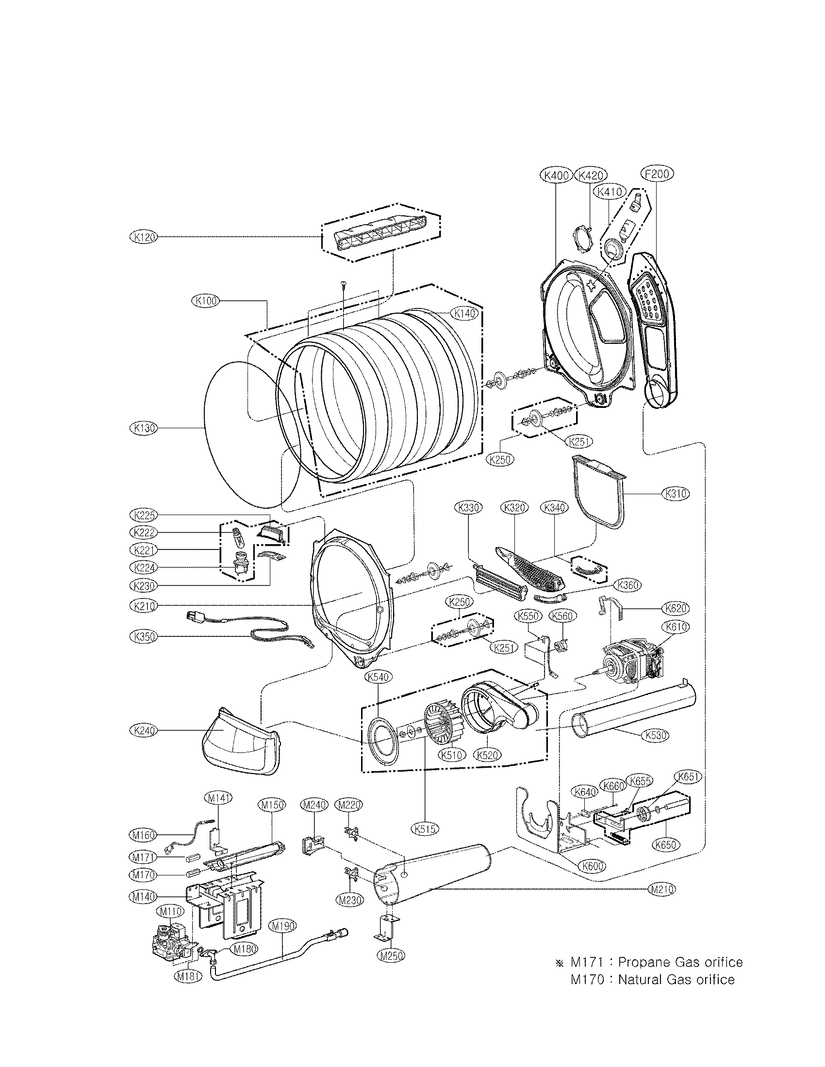 LG DLGX5171W drum and motor assembly part diagram