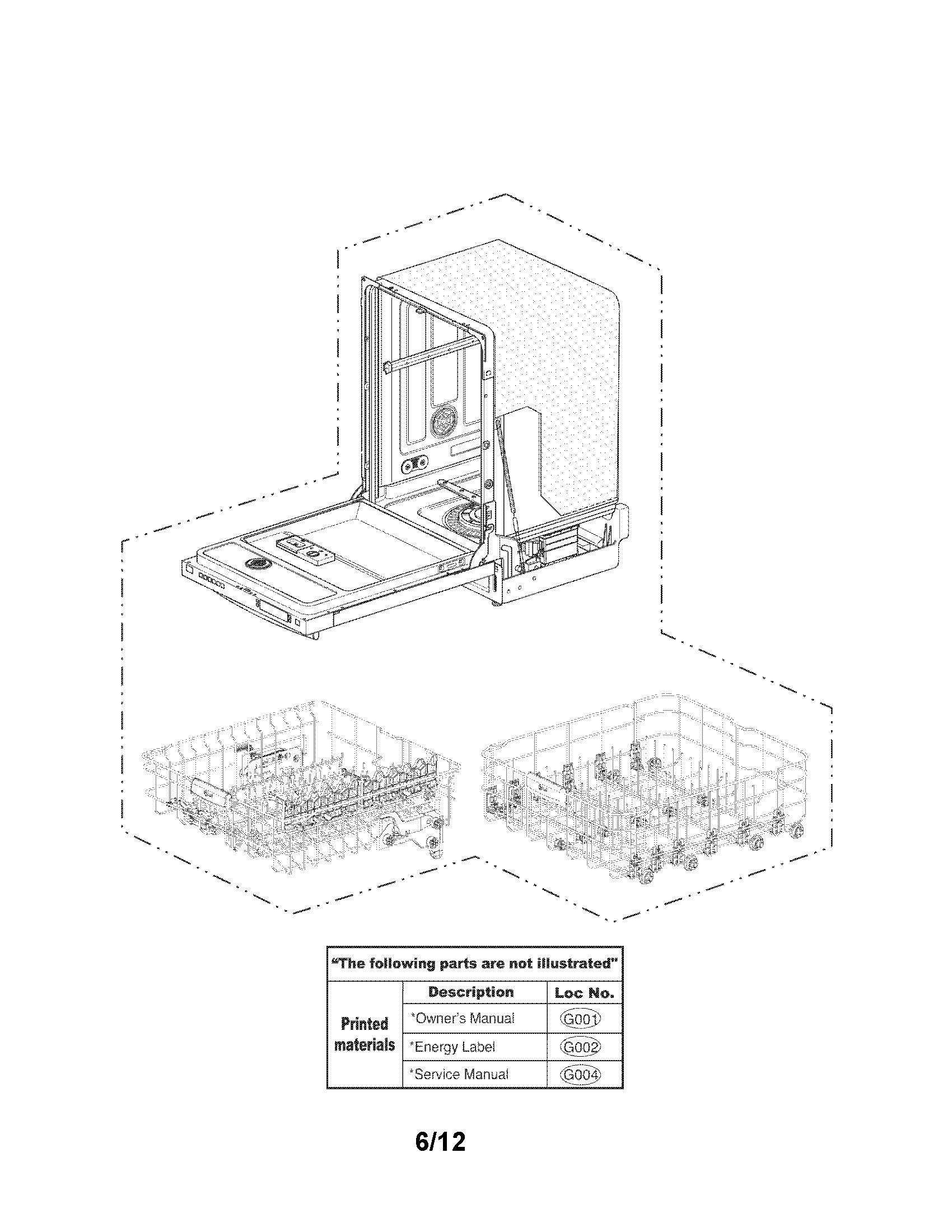 LG LDF7551WW exploded view parts diagram
