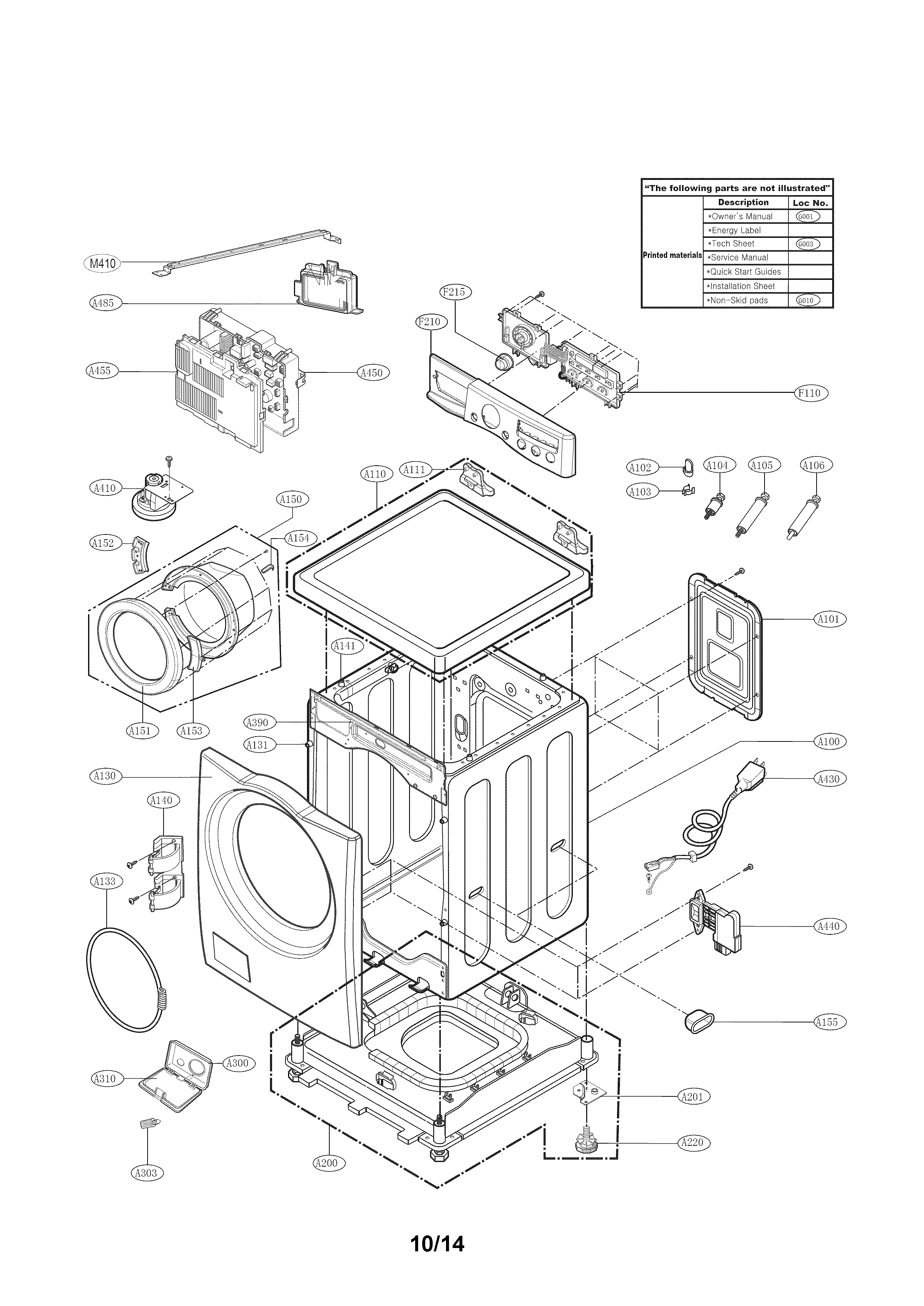 Kenmore 79641382410 cabinet and control panel parts diagram