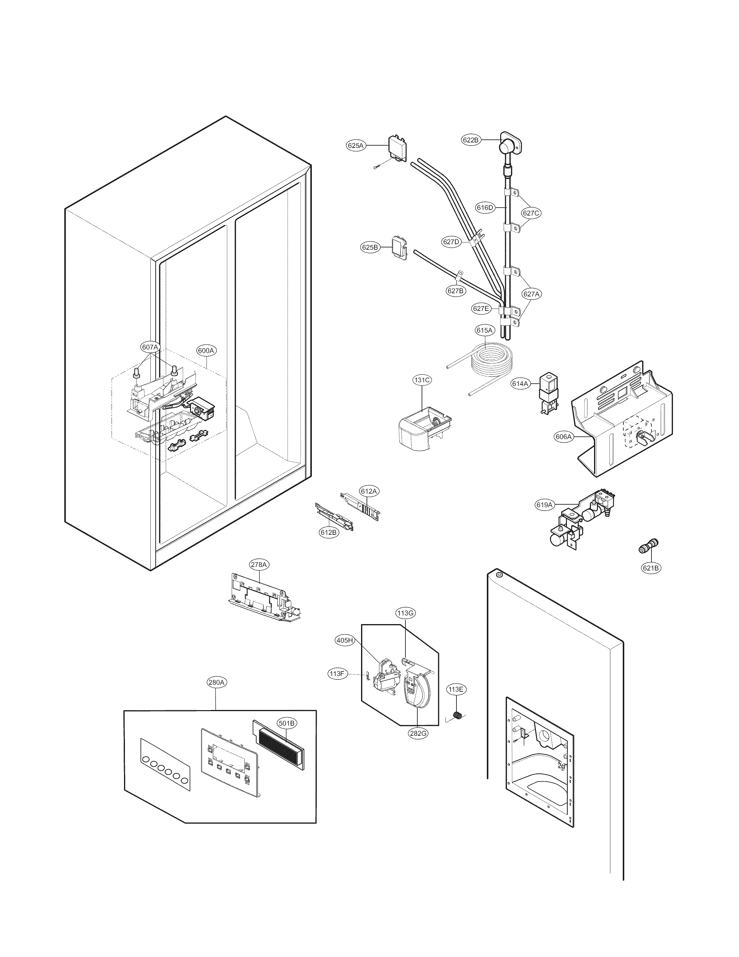Kenmore 79551813410 side-by-side refrigerator parts