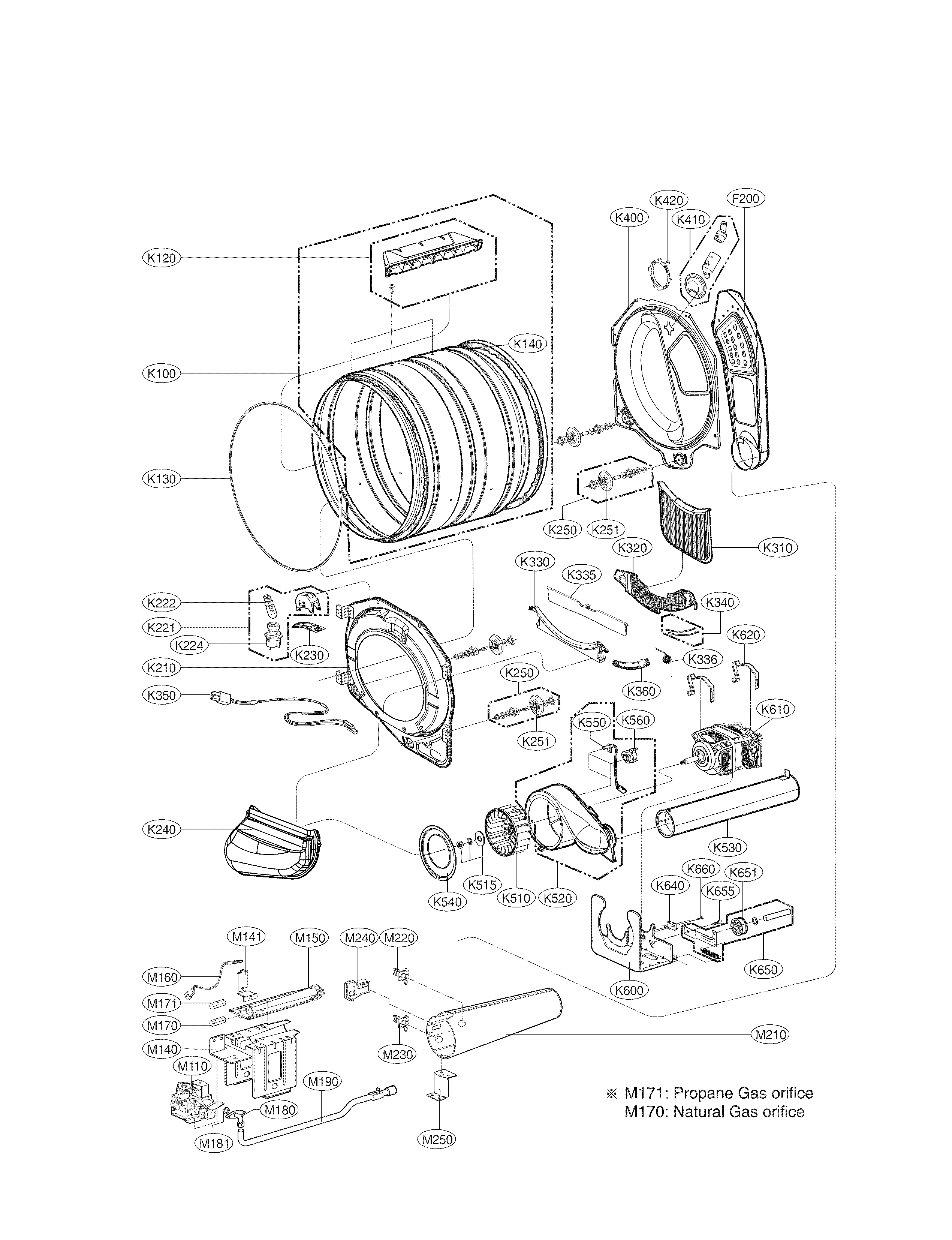 LG DLGX4271V drum and motor assembly parts diagram