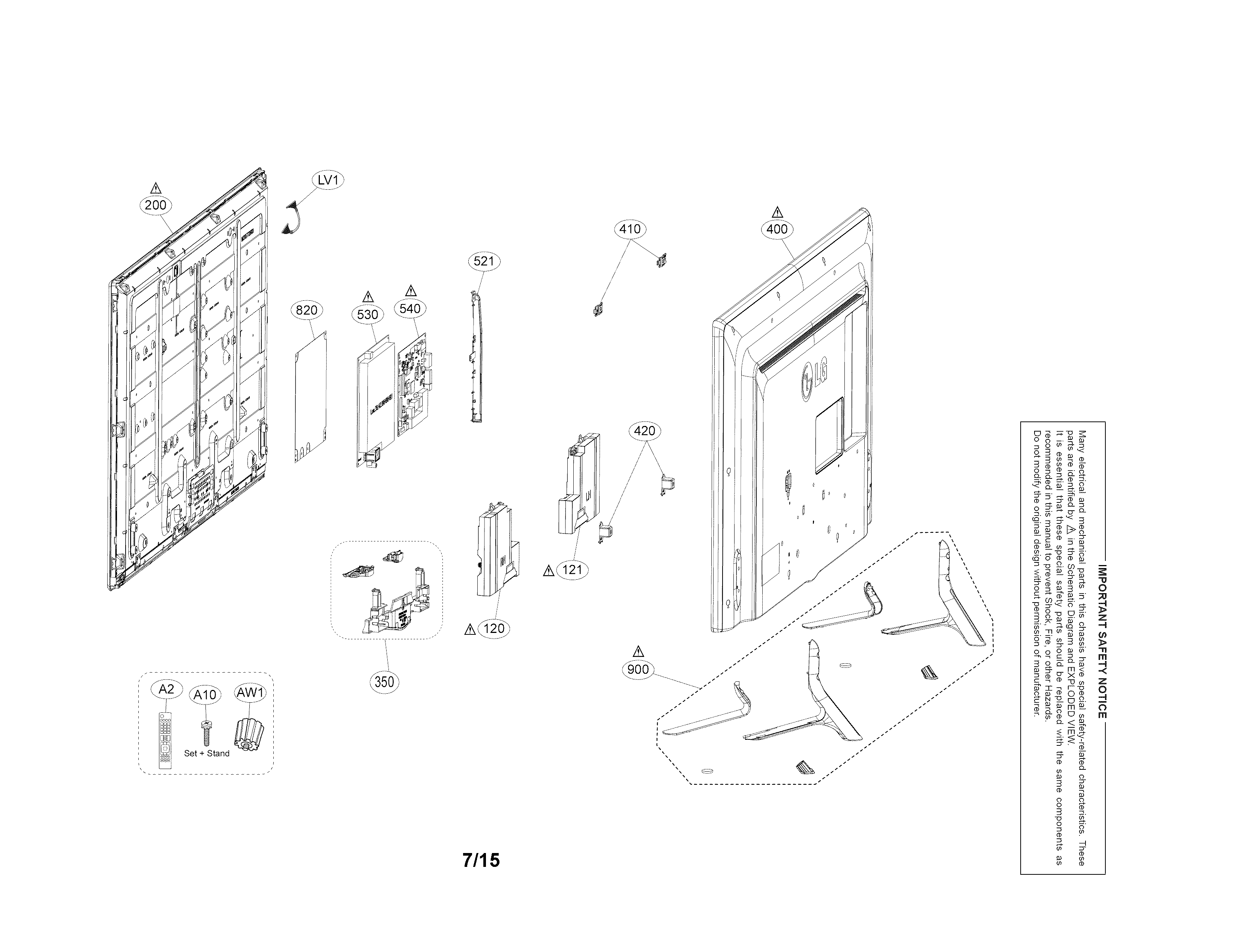 LG 42LF5600 exploded view parts diagram