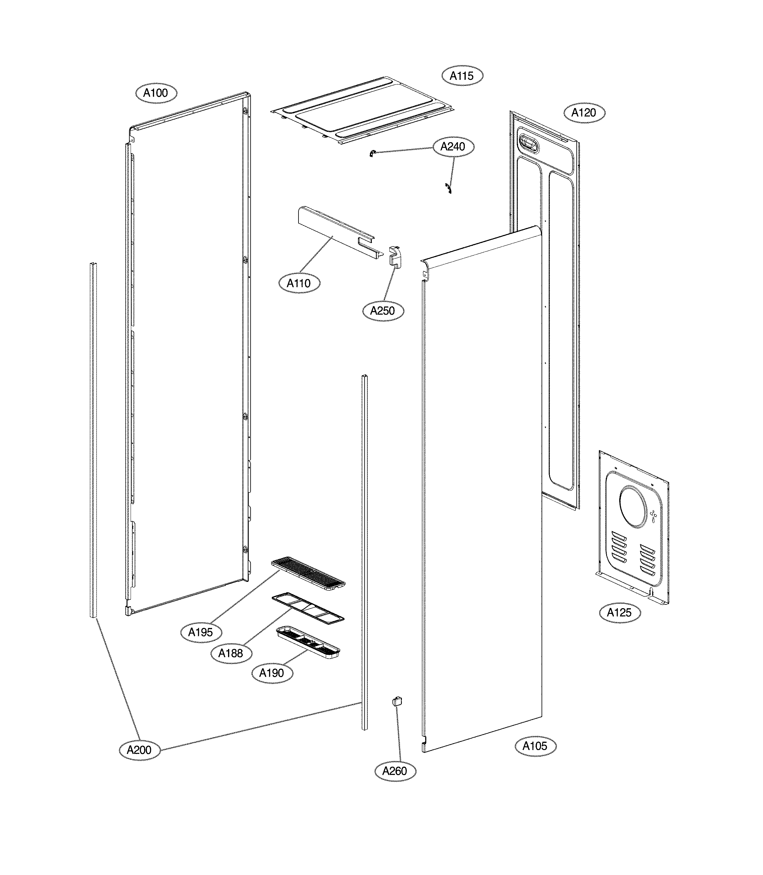 LG S3RERB exploded view parts diagram