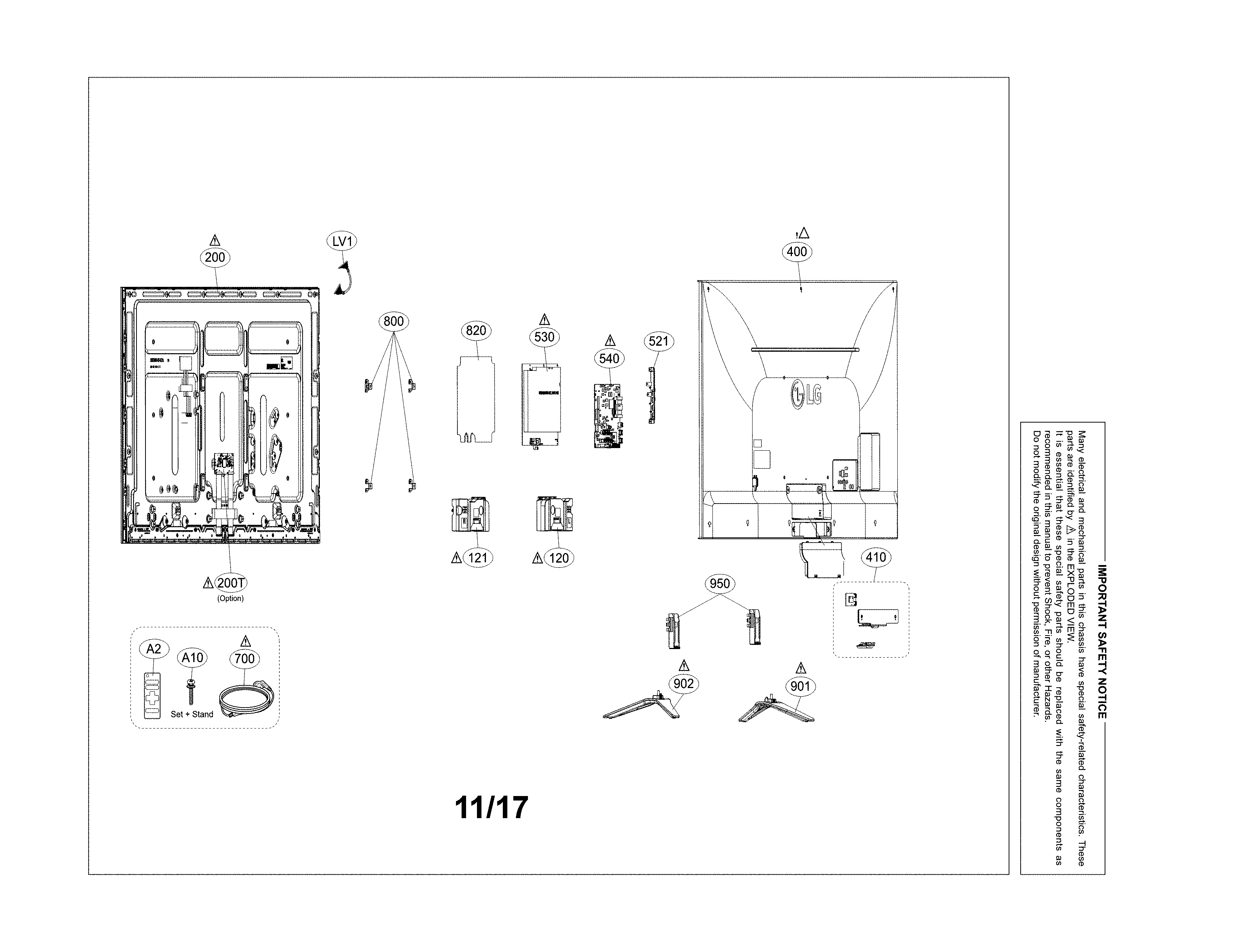 LG 60UH6550 exploded view diagram